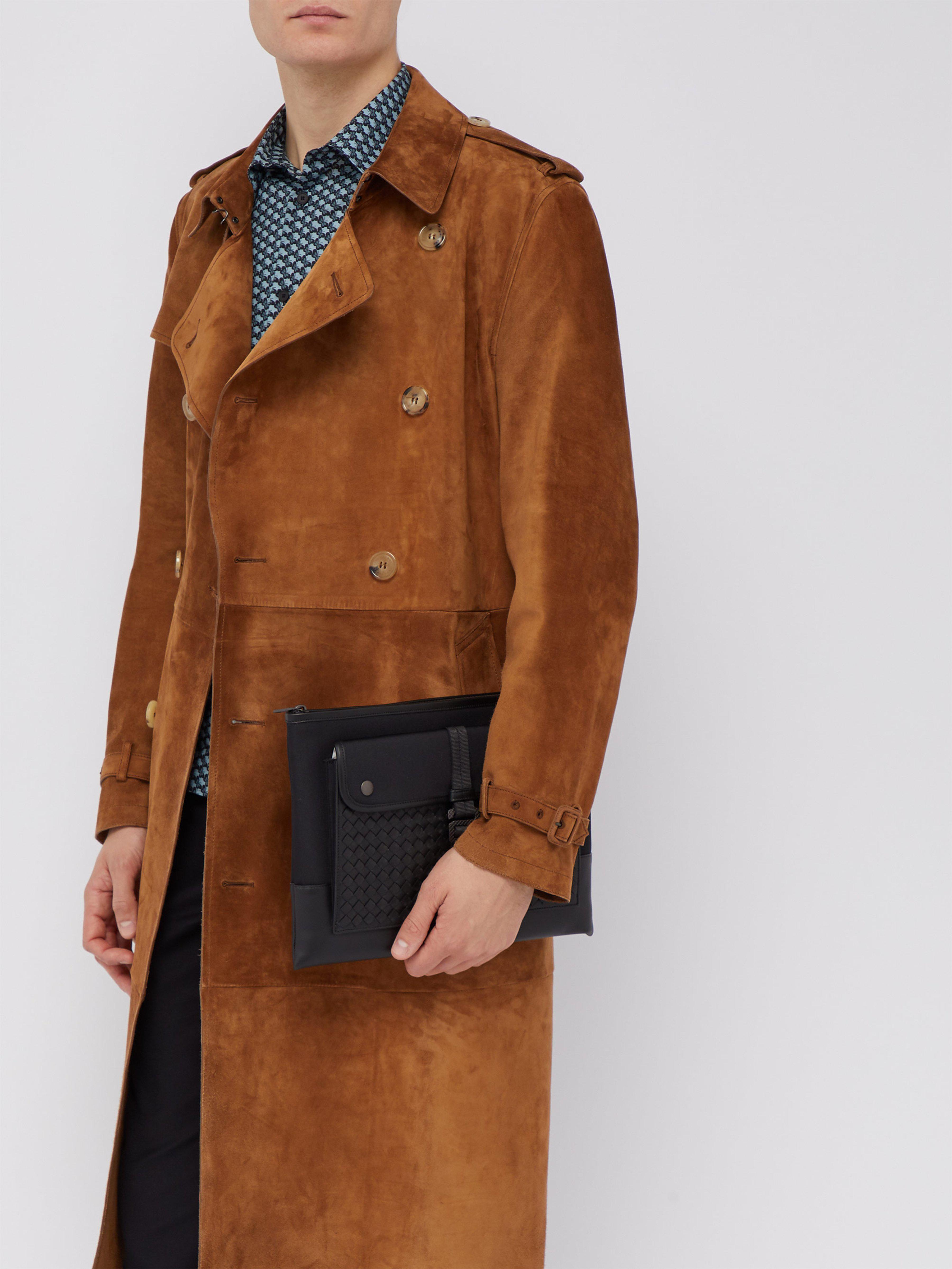 f861a5ff887c Bottega Veneta - Black Intrecciato Weave Leather And Canvas Pouch for Men -  Lyst. View fullscreen