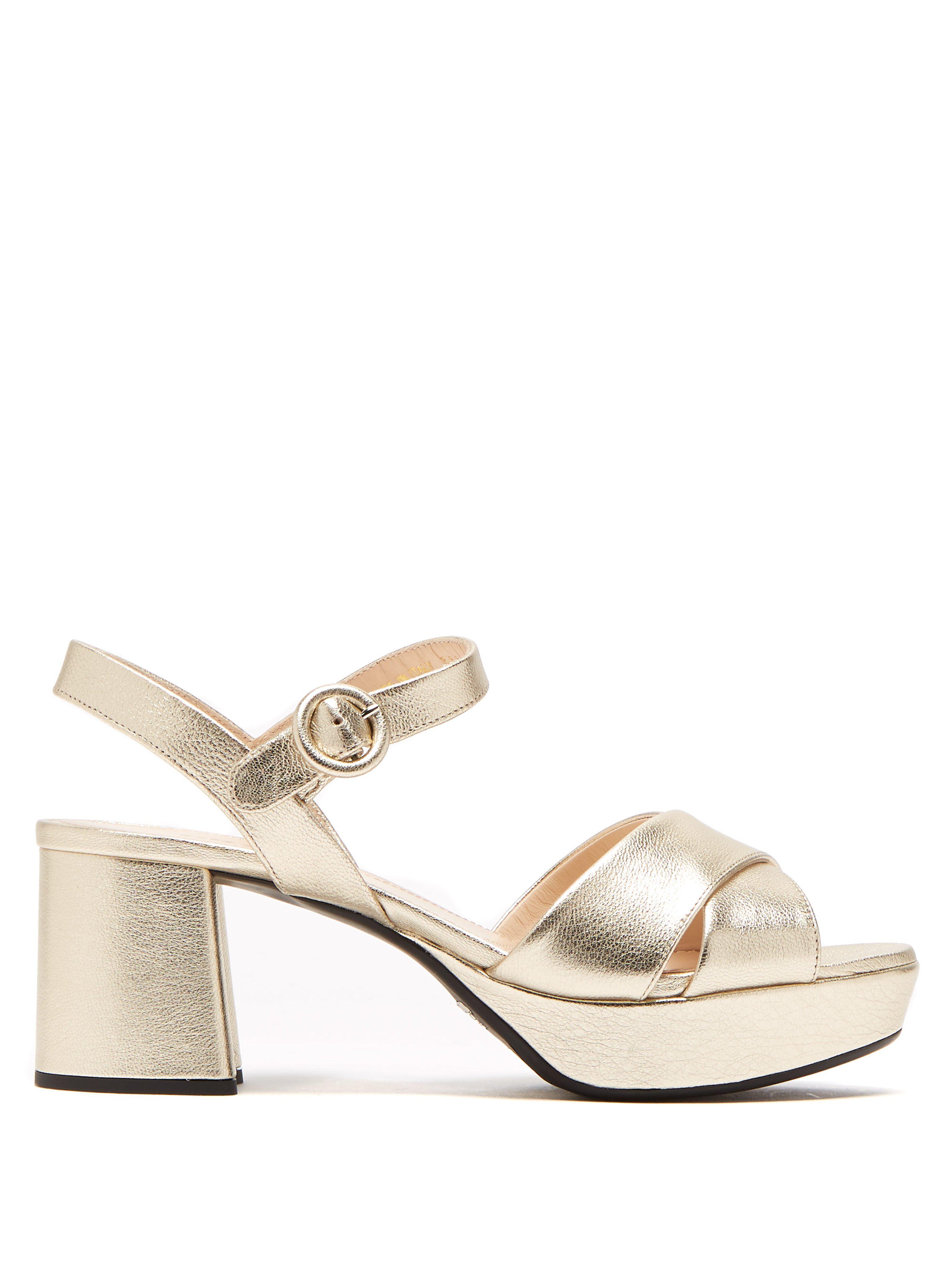 0e792703cd1 Prada Metallic Crisscross Platform Sandals in Metallic - Save ...