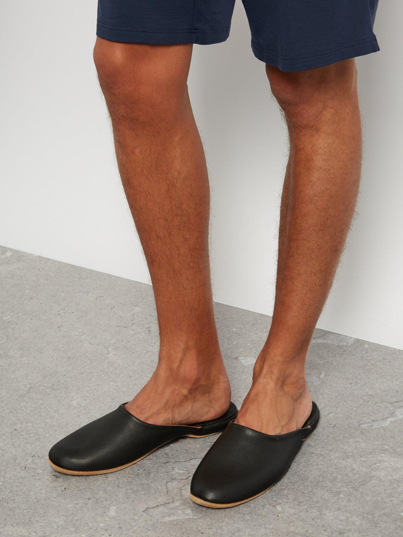 a9216639b0abf Lyst - Derek Rose Morgan Leather Slipper Shoes in Black for Men