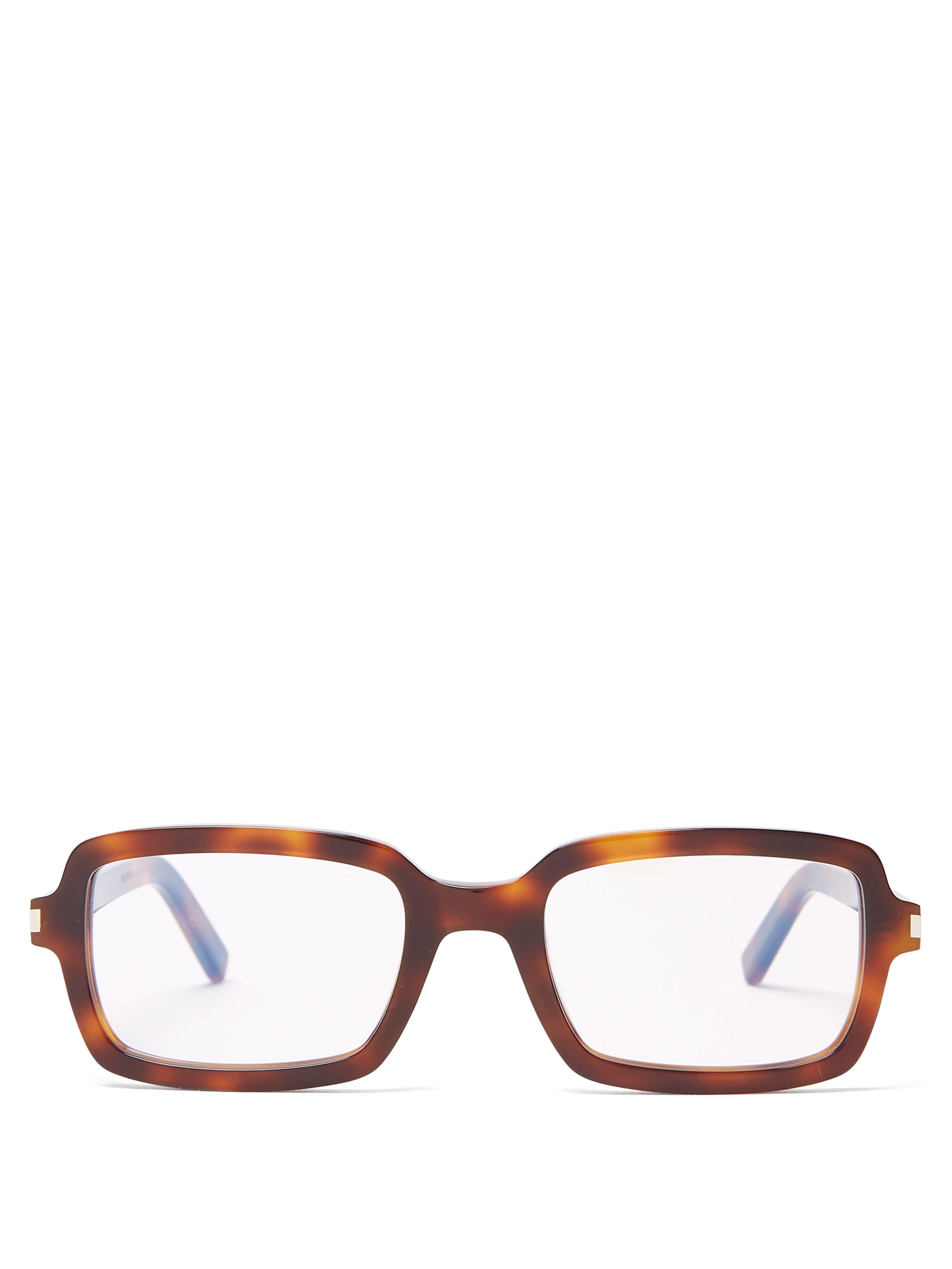 093ca34f90b6 Saint Laurent Rectangular Tortoiseshell Acetate Glasses in Brown - Lyst