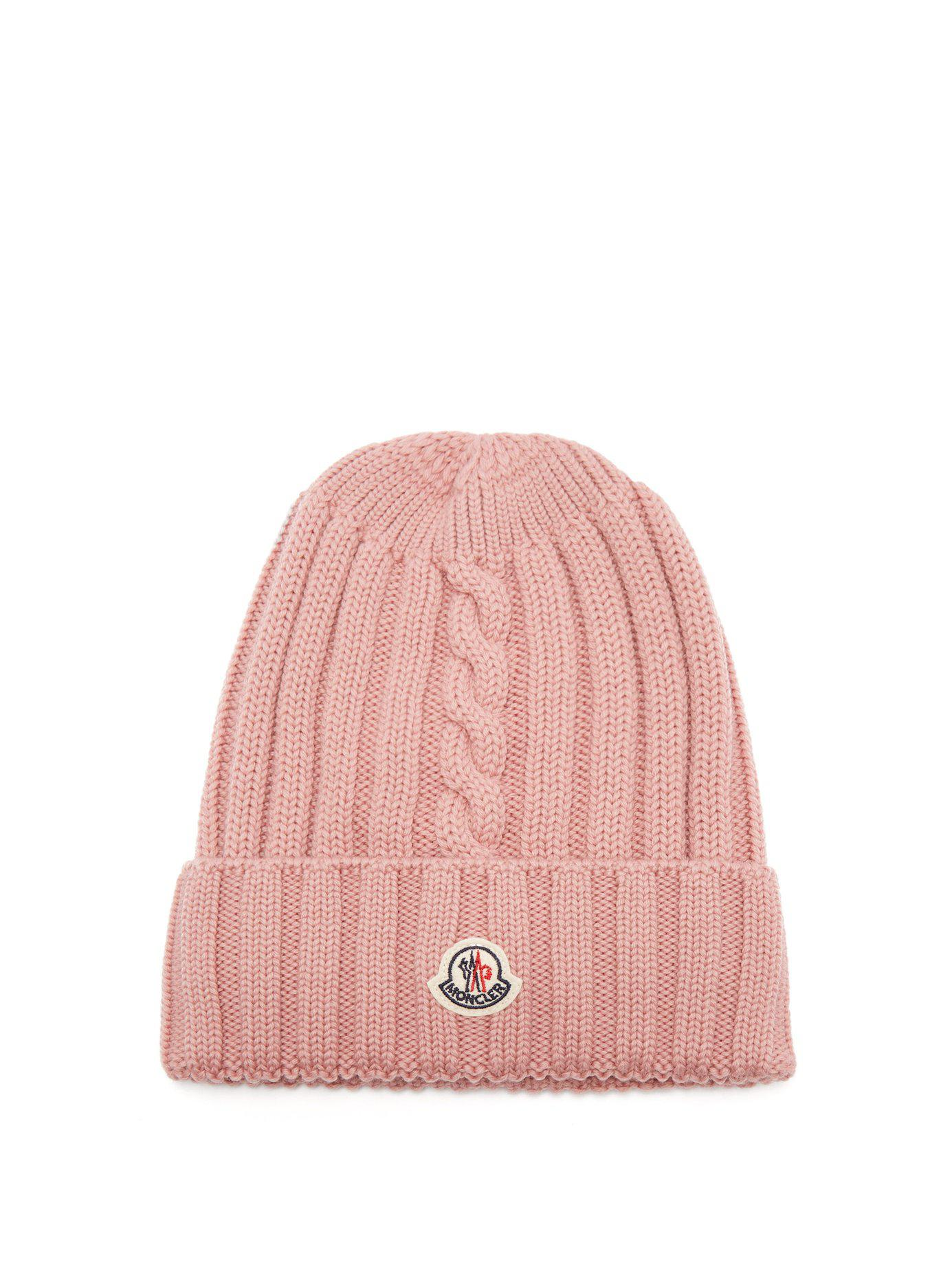 e527abc5836 Lyst - Moncler Ribbed-knit Wool Beanie Hat in Pink