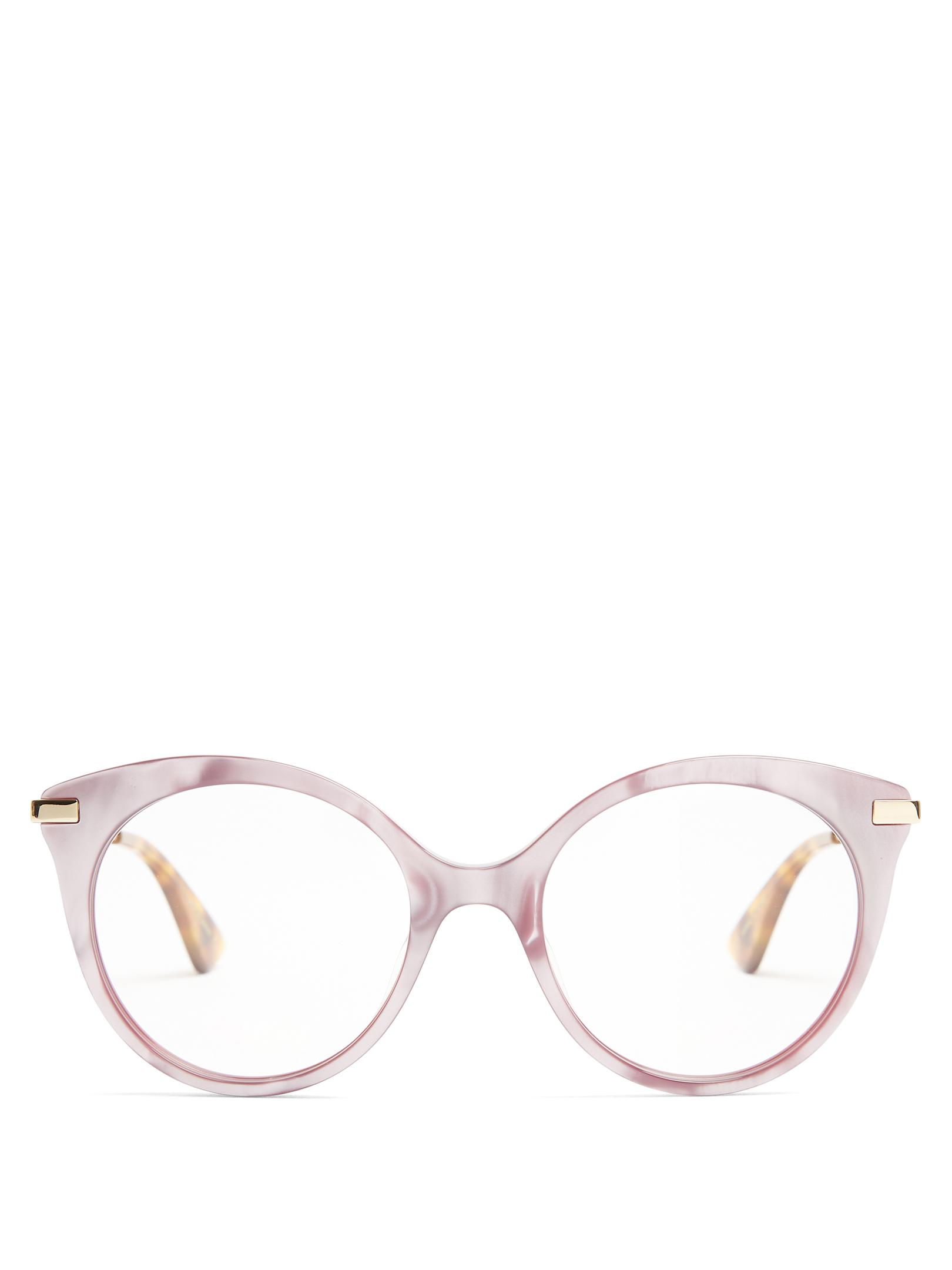 02bb364b600d Lyst - Gucci Round-frame Mother-of-pearl Acetate Glasses in Pink