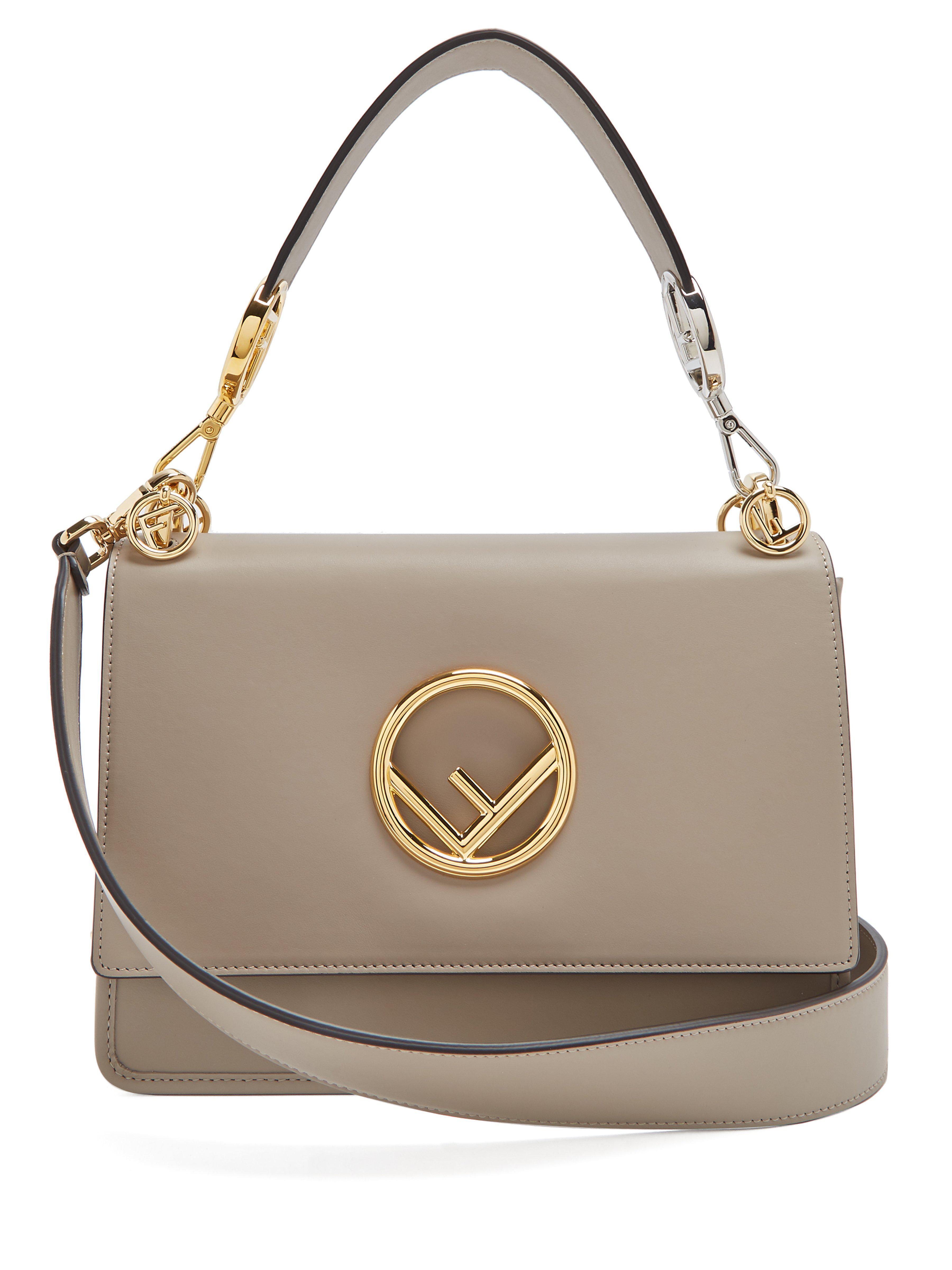 Fendi Kan I Logo Leather Shoulder Bag in Gray - Lyst 739ad64b3cf2e