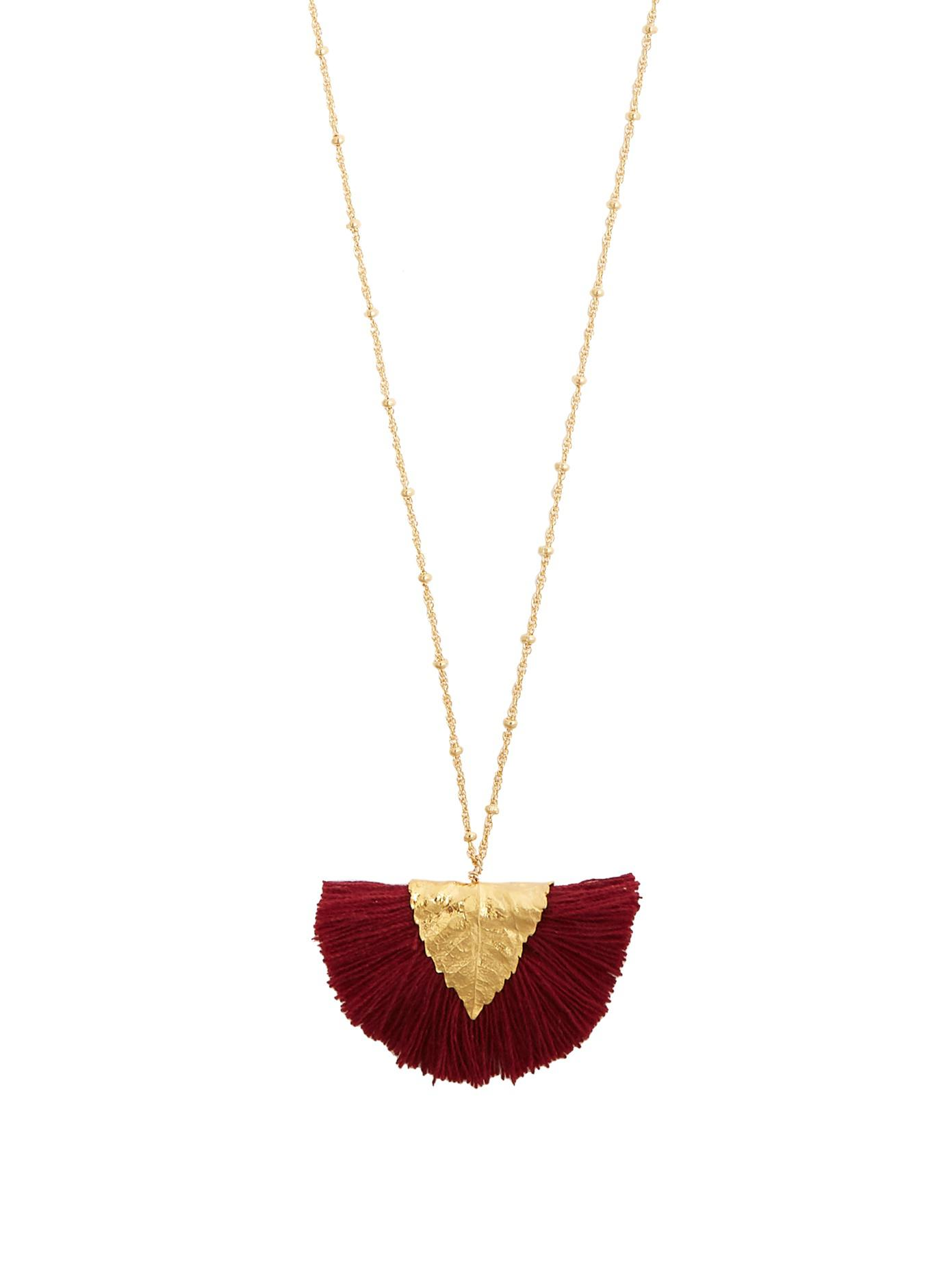 Elise Tsikis Paris Los Craie tassel-pendant gold-plated necklace RbJSDvf