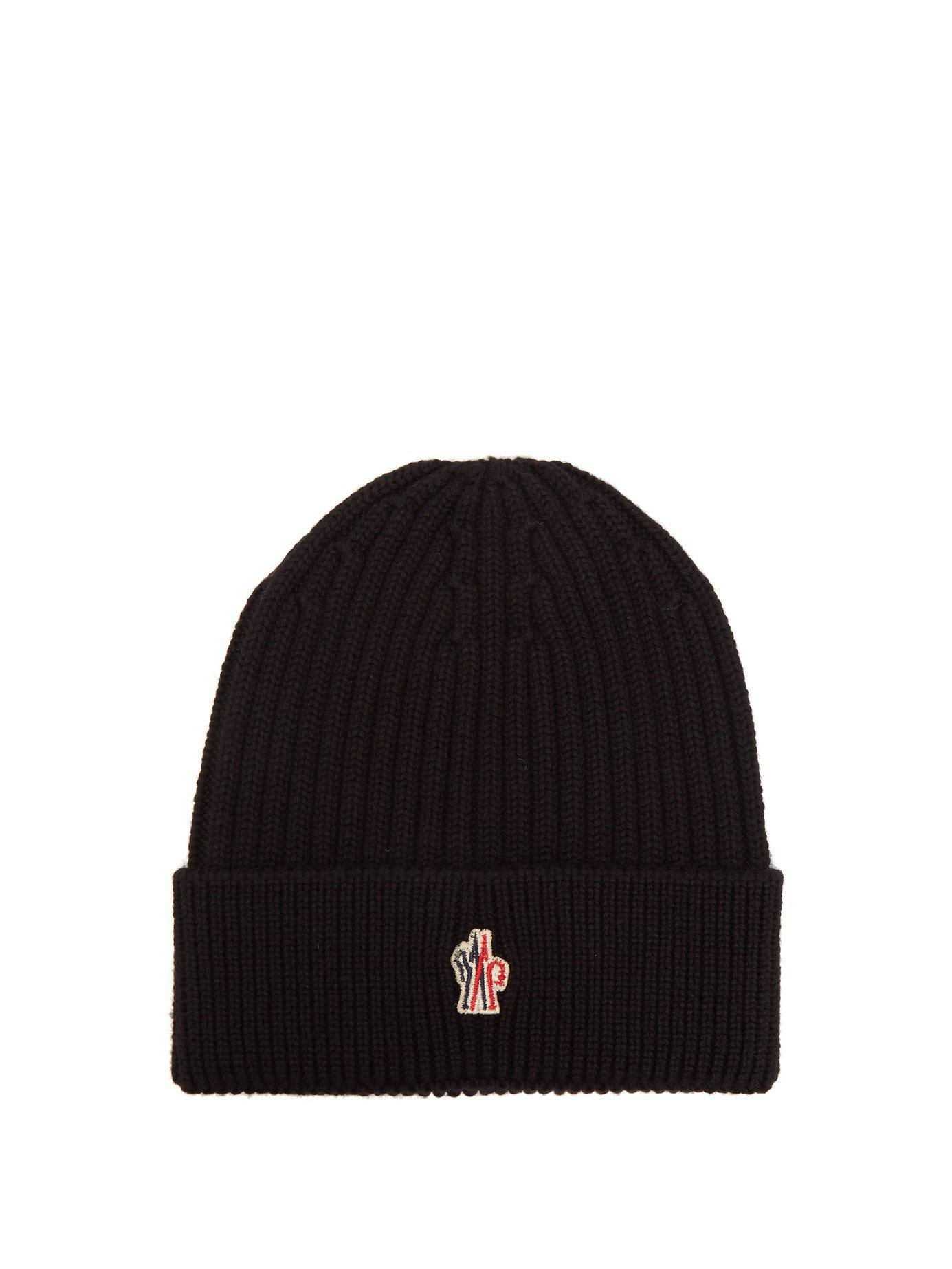 664c50680de Moncler Grenoble Logo Virgin Wool Beanie Hat in Black for Men - Save ...