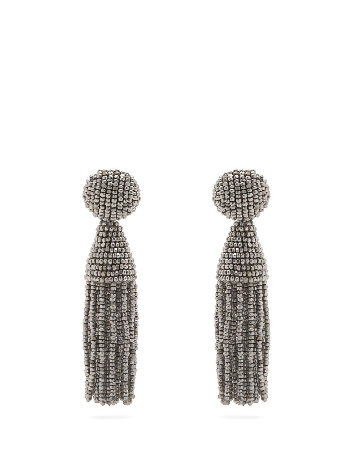 03961670fbcc Oscar de la Renta. Women s Metallic Bead Embellished Tassel Drop Earrings