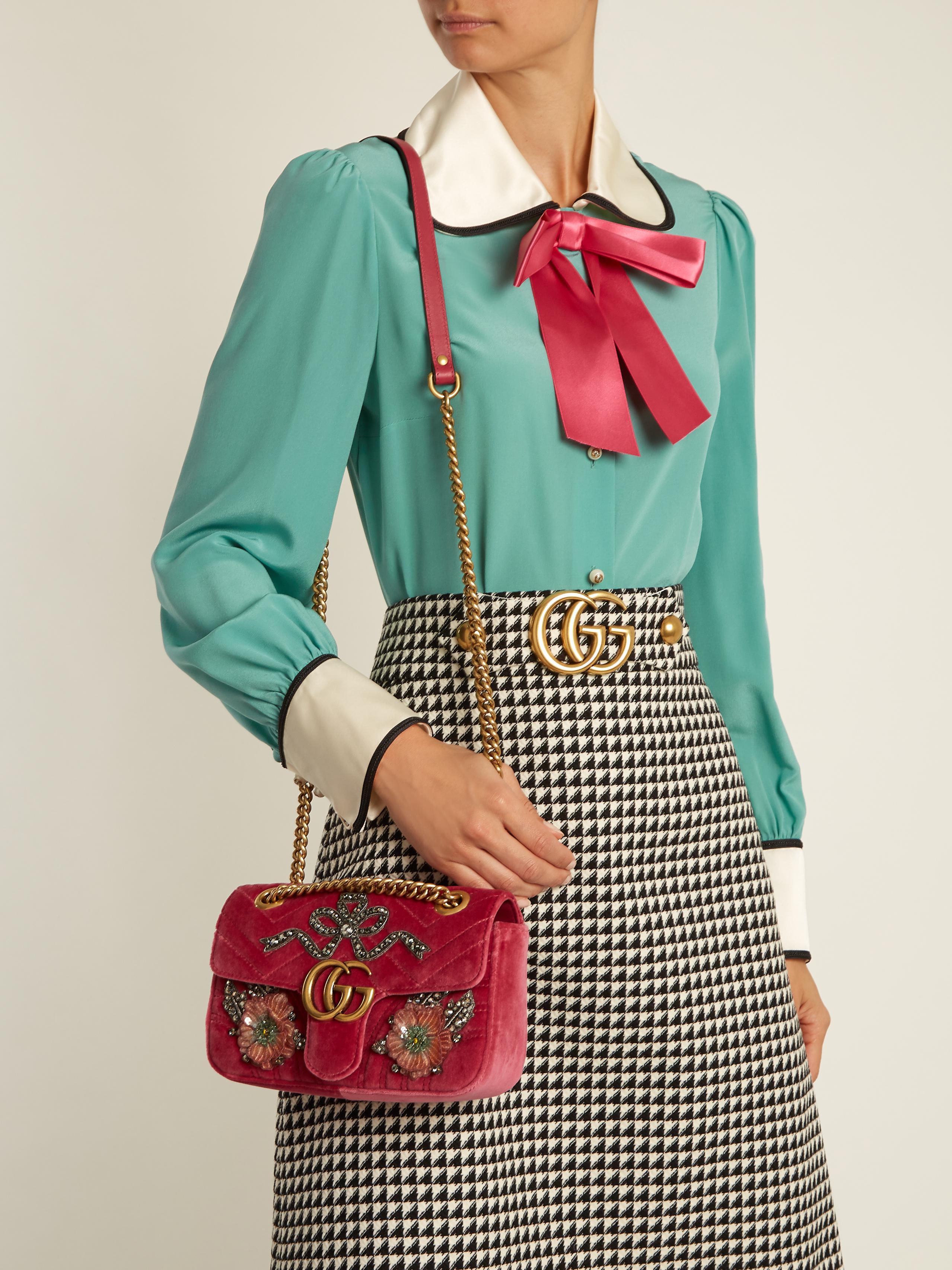 Pink Mini Velvet Marmont 2.0 Bag Gucci dM4pJp