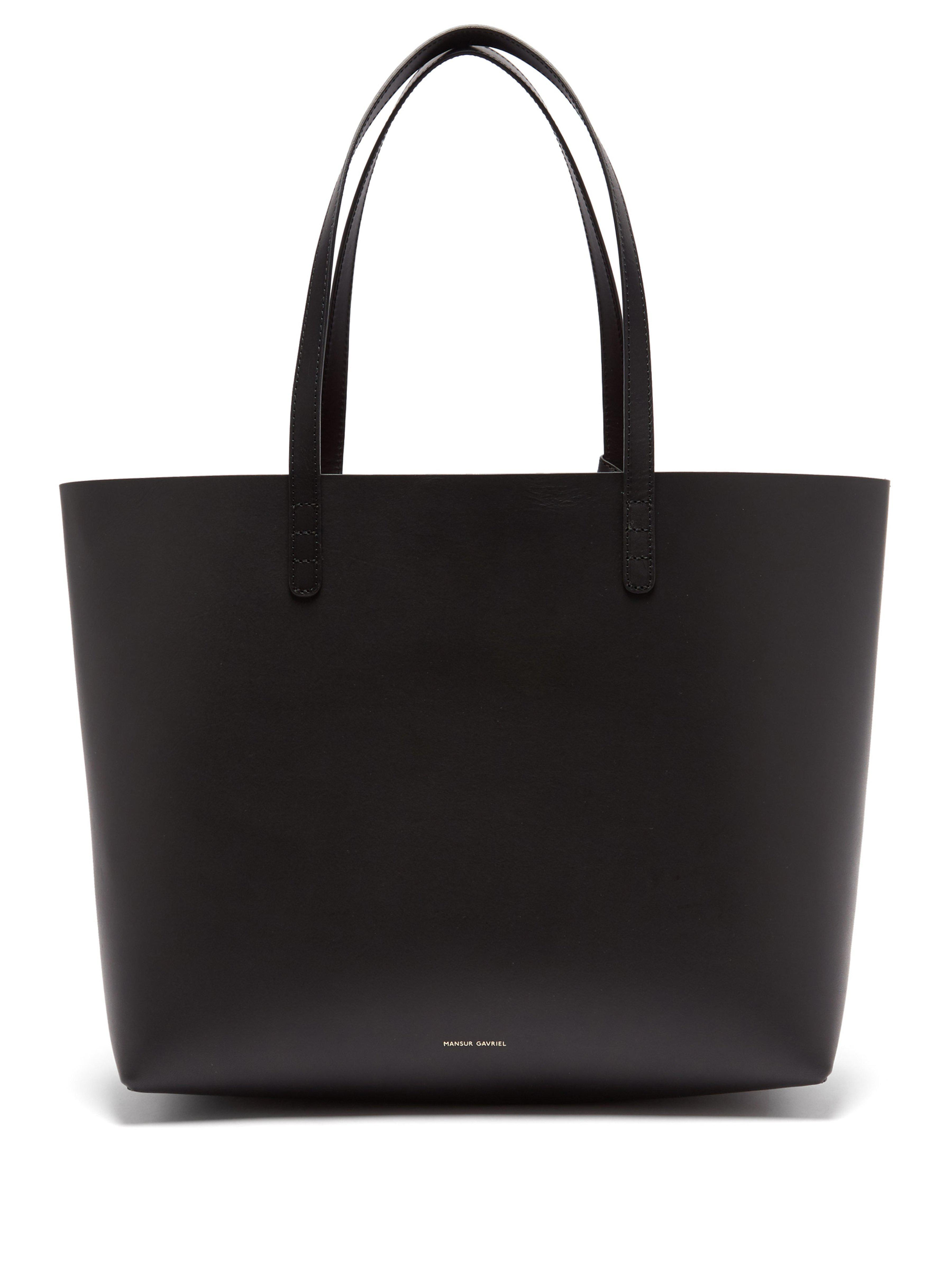 b5e69fb8ea Mansur Gavriel - Black Red Lined Large Leather Tote Bag - Lyst. View  fullscreen