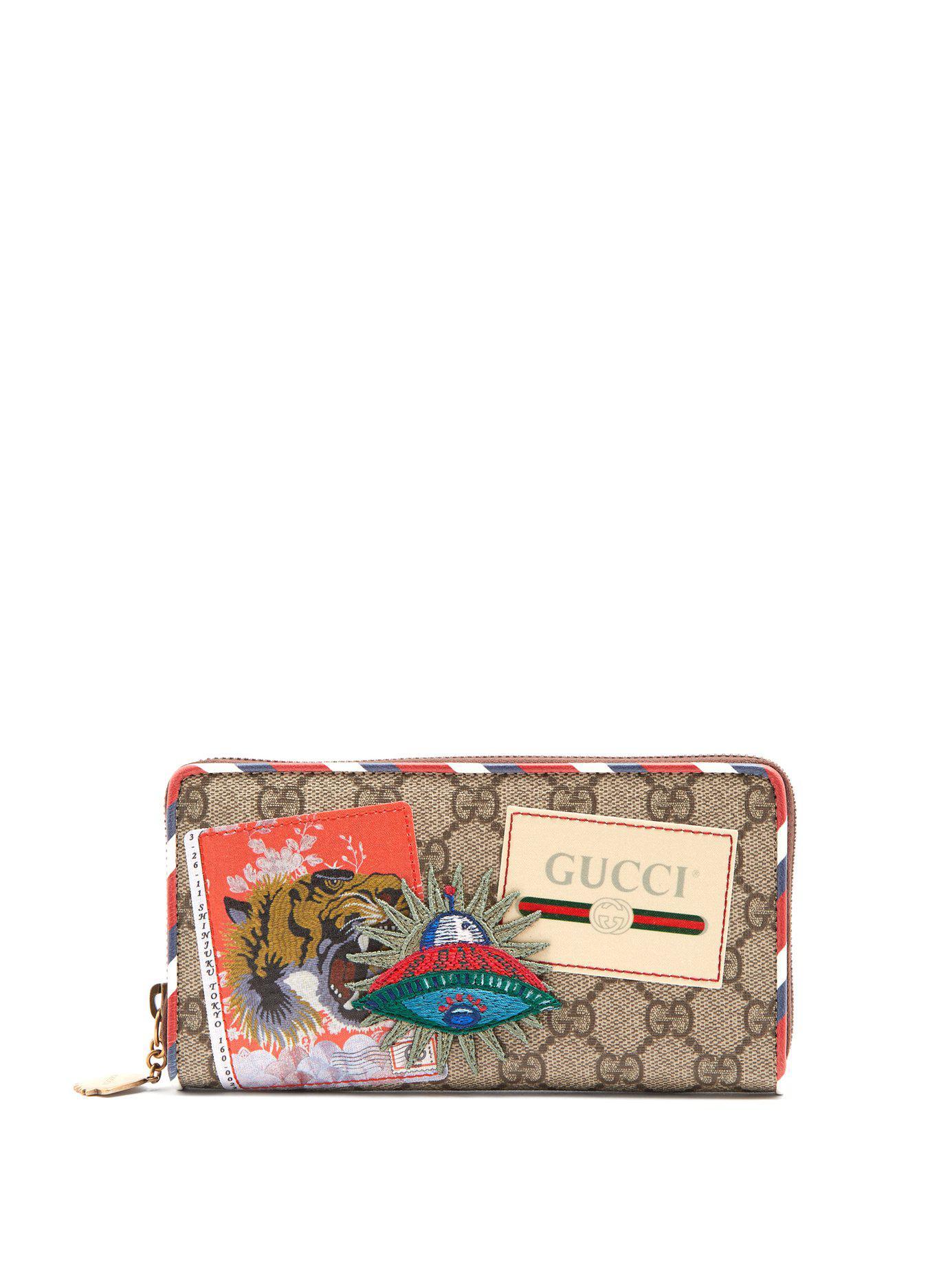 f427827b2668 Gucci - Brown Courrier Gg Supreme Zip-around Wallet for Men - Lyst. View  fullscreen