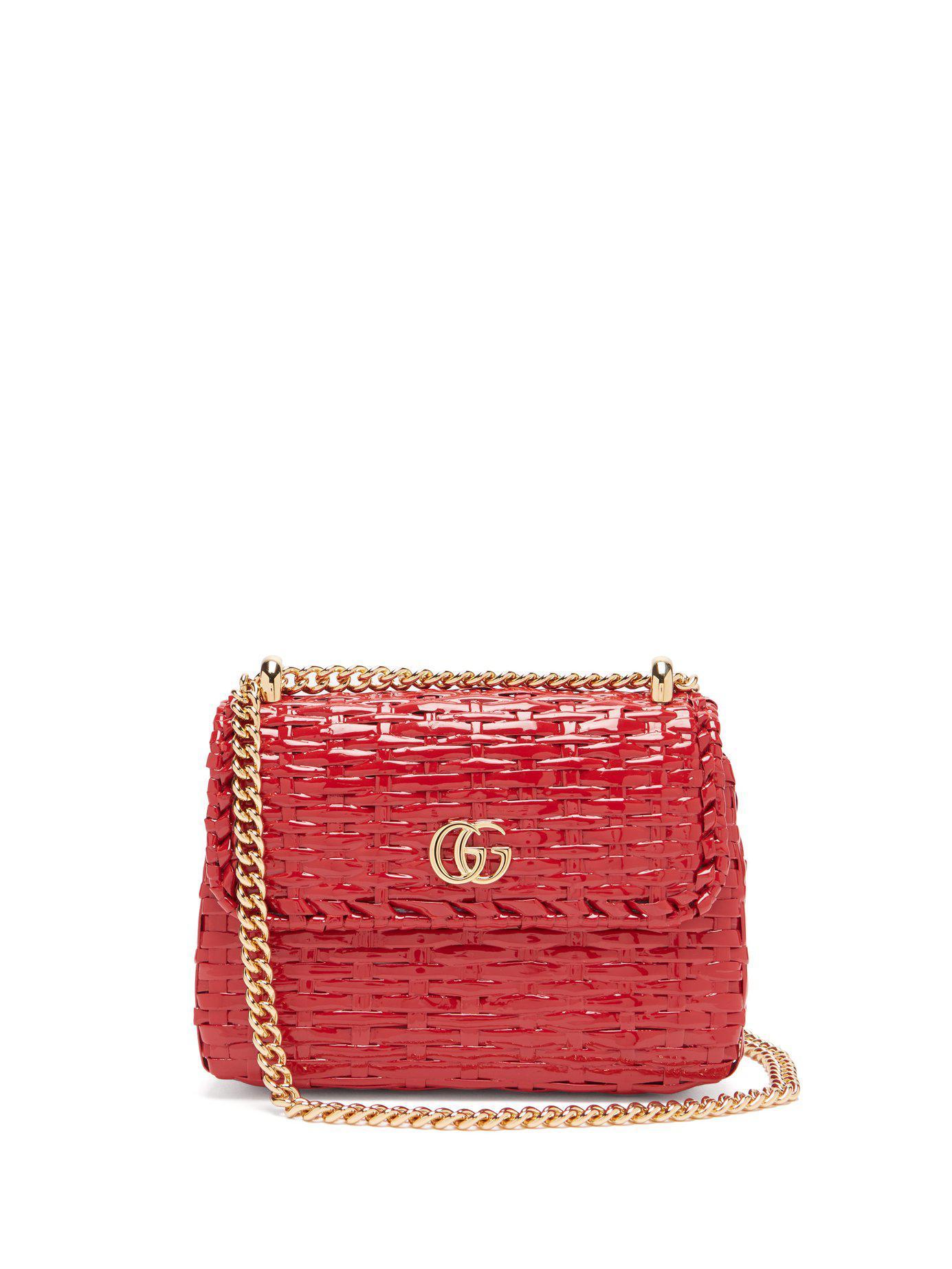 80e3681f873c70 Lyst - Gucci Cestino Woven Wicker Cross Body Bag in Red