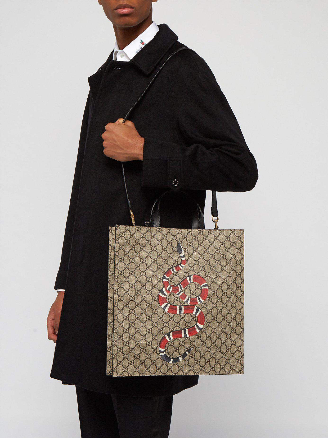e90af420bb3 Gucci - Natural Gg Supreme And Kingsnake Print Tote Bag for Men - Lyst.  View fullscreen