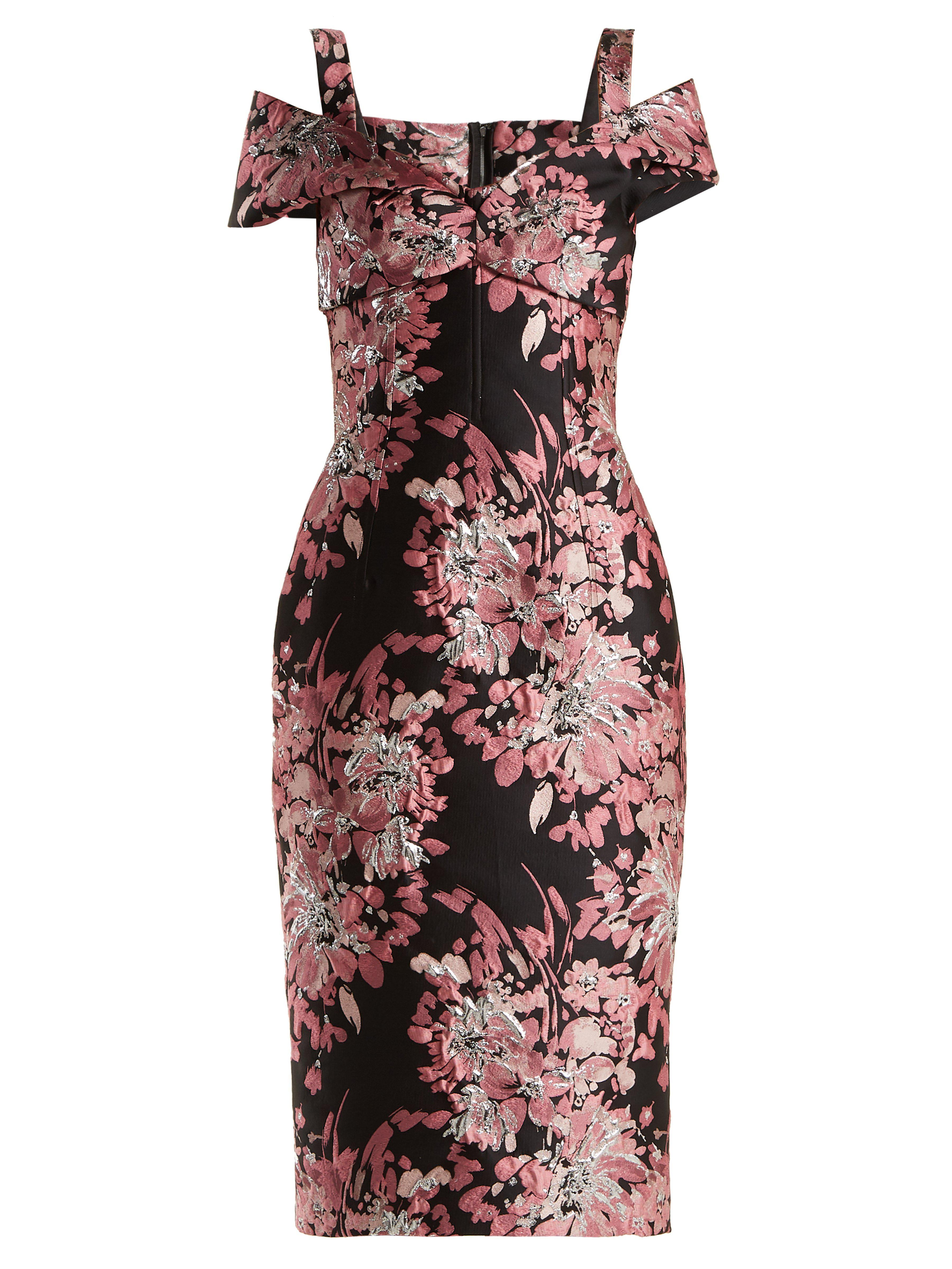 6c0e3706 Dolce & Gabbana Floral Jacquard Dress in Black - Lyst