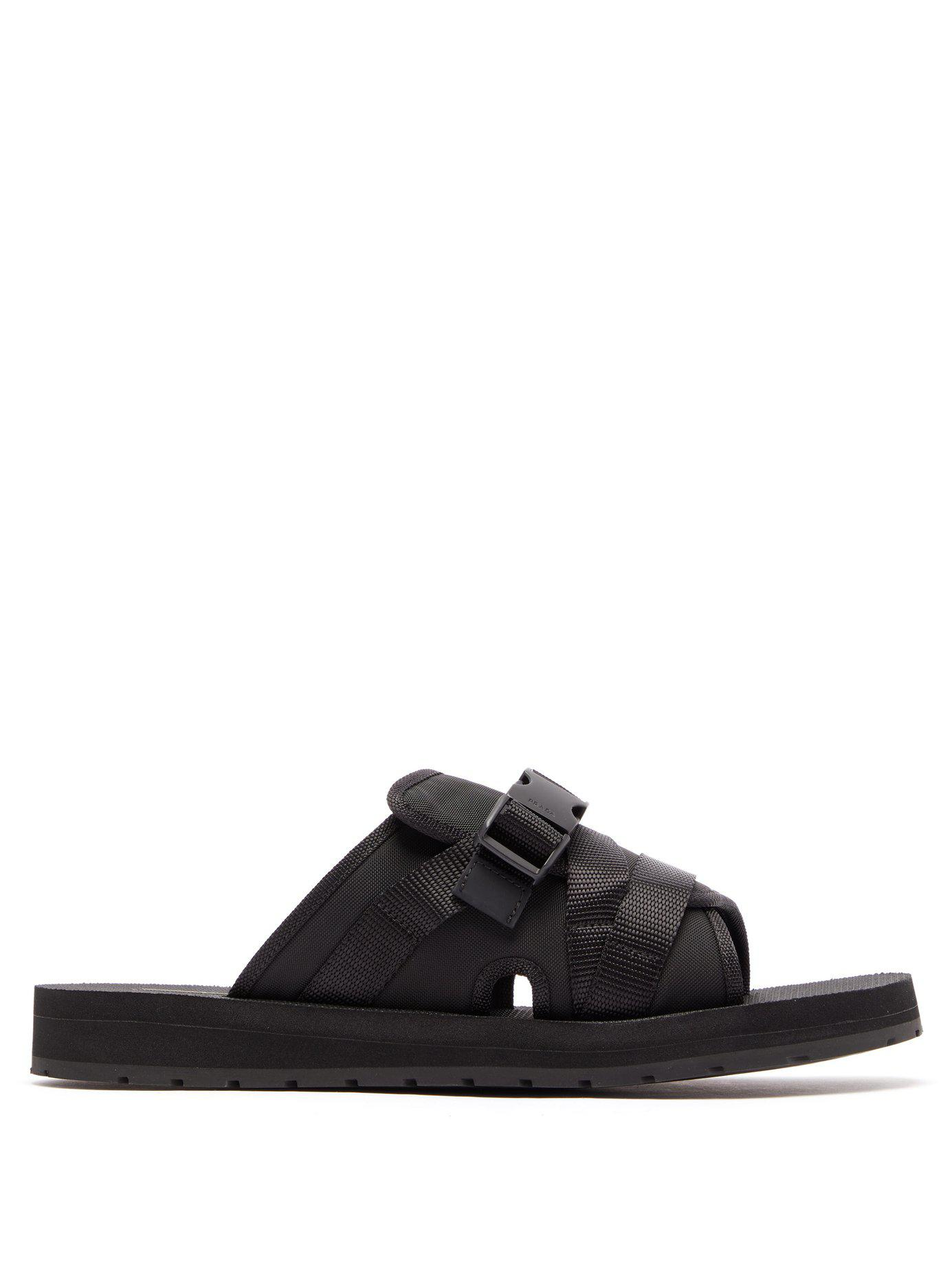 2e3164522886a4 Lyst - Prada Buckle Open-toe Sandals in Black for Men - Save 48%