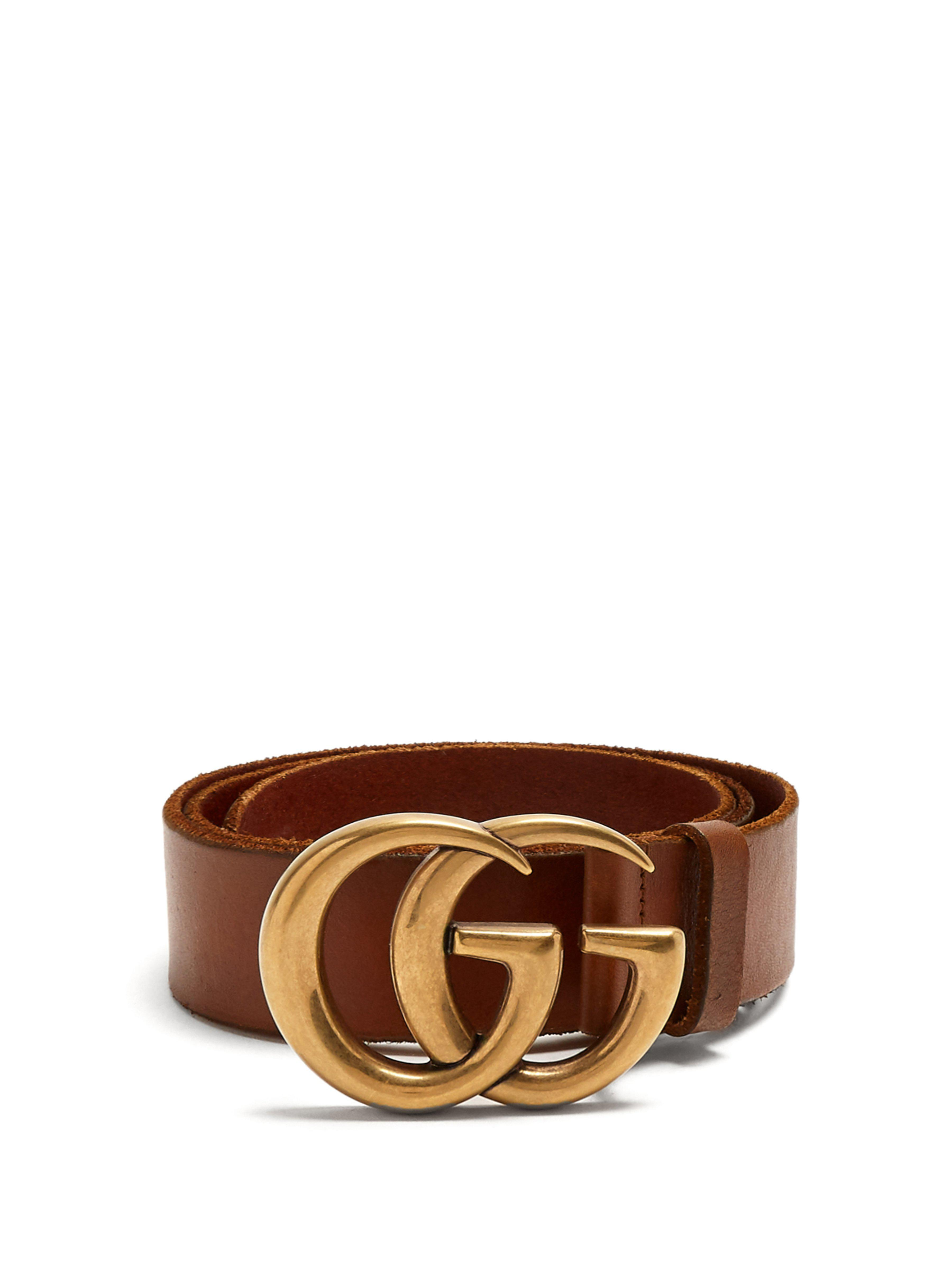 Lyst - Ceinture en cuir à logo GG Gucci en coloris Marron - 99 % de ... 038f926d2d4