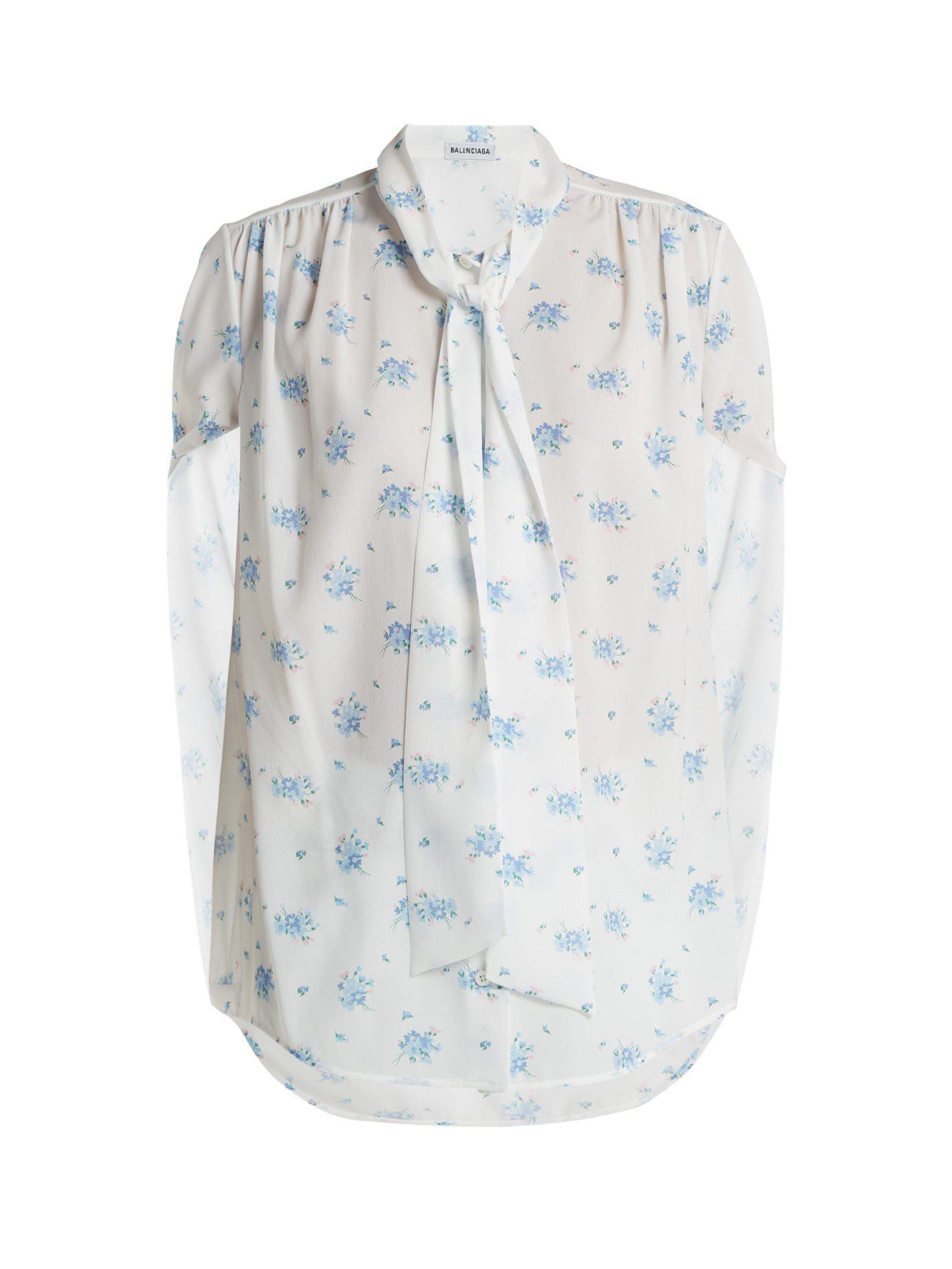 944211ecea60 Balenciaga - Blue Twisted Sleeve Floral Print Crepe Blouse - Lyst. View  fullscreen