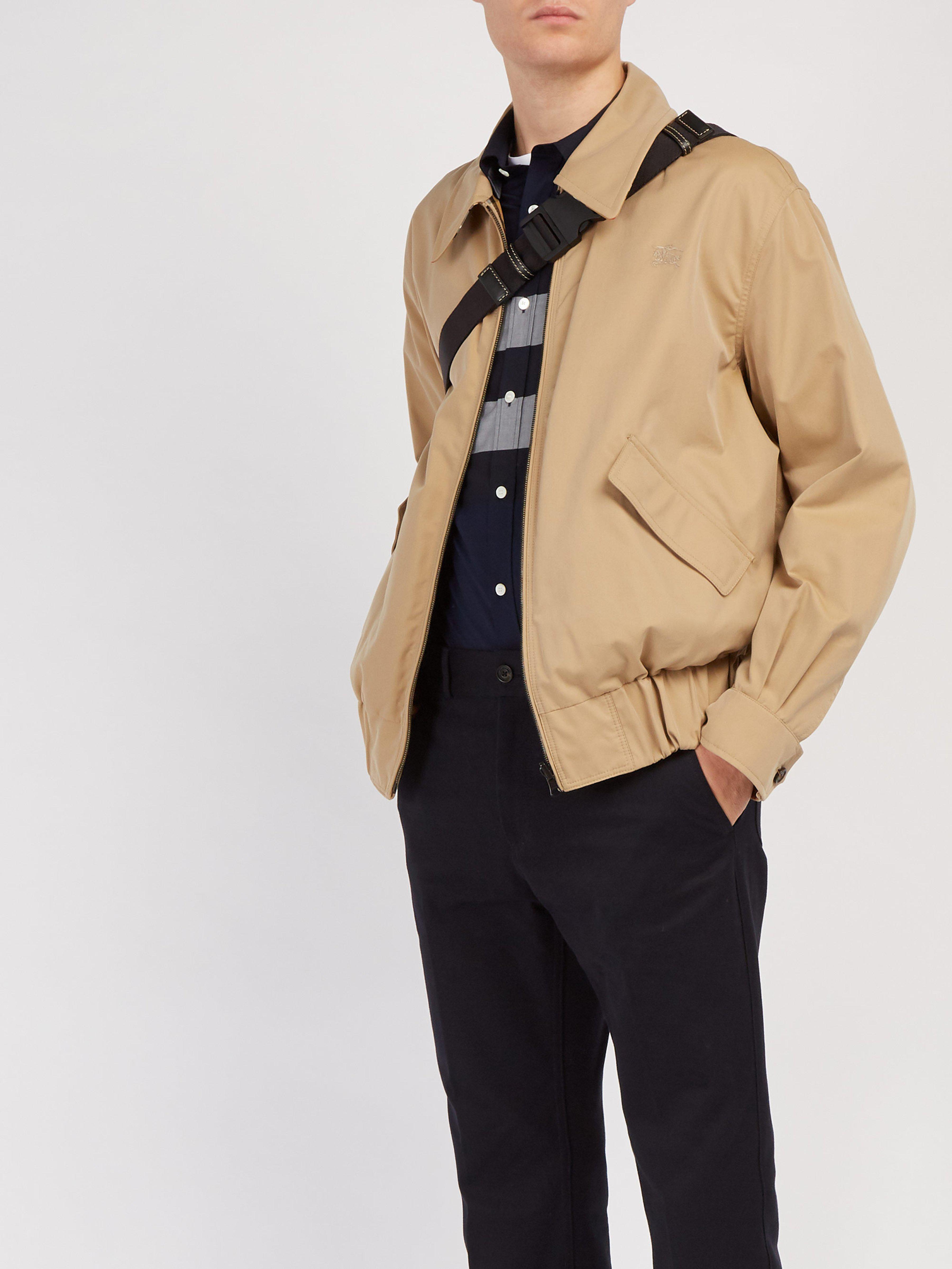 Cotton For Lyst Men Burberry Harrington Jacket Natural View Fullscreen Gabardine 0AxXxEw