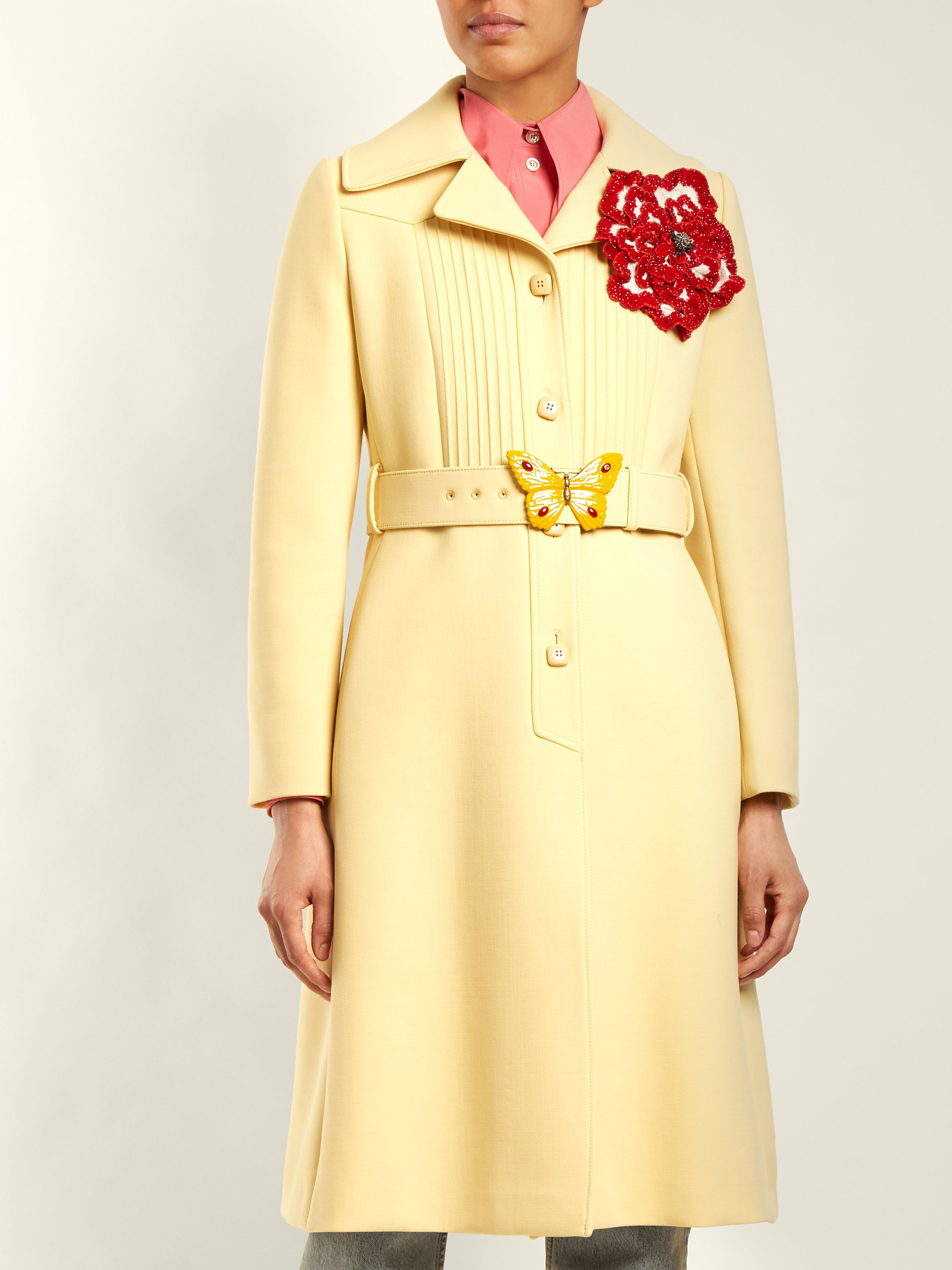 71987f3ad Gucci Pintucked Butterfly-embellished Belt Coat in Yellow - Lyst