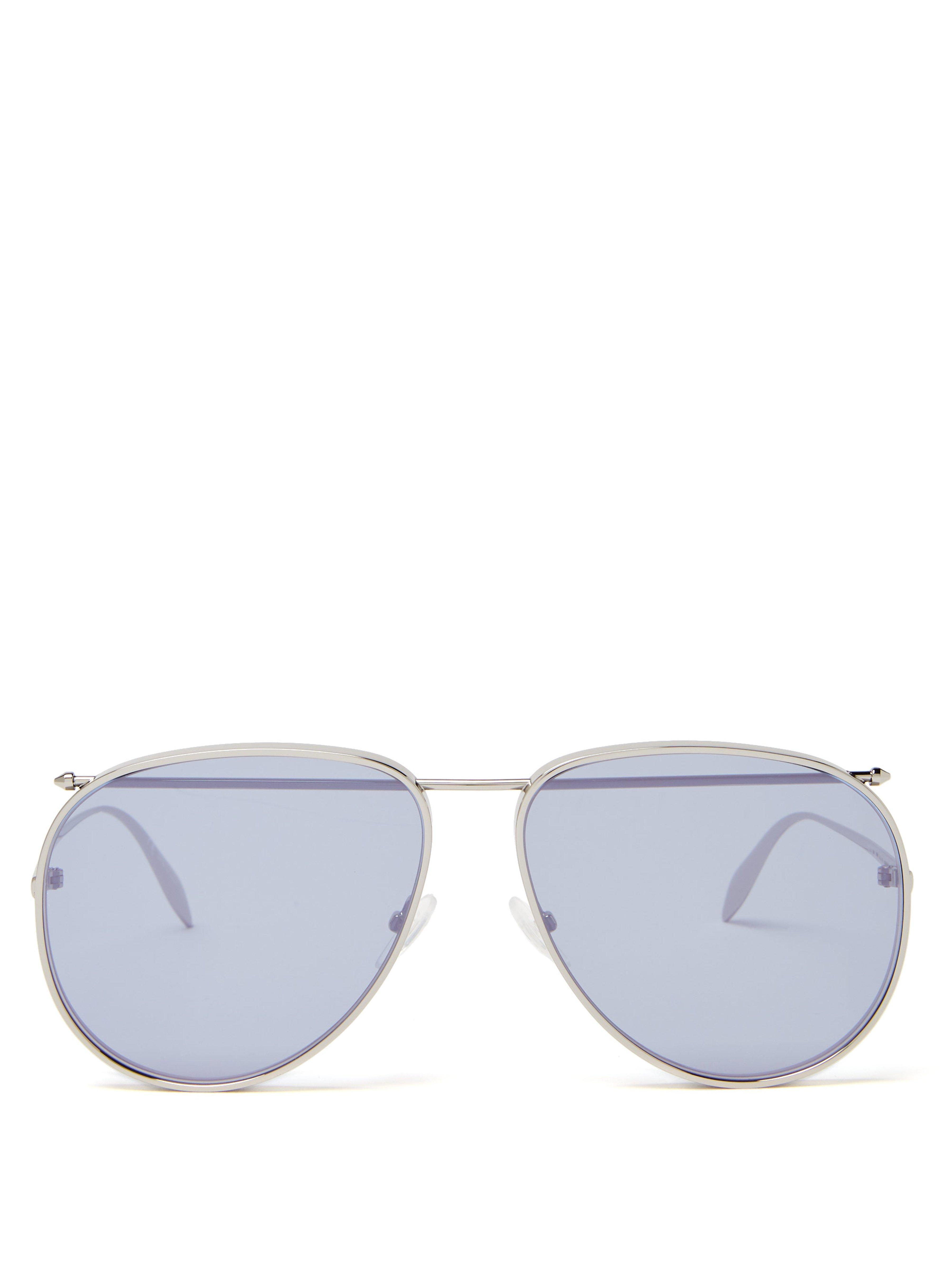 706112c40519 Alexander McQueen Top Bar Aviator Metal Sunglasses in Gray for Men ...