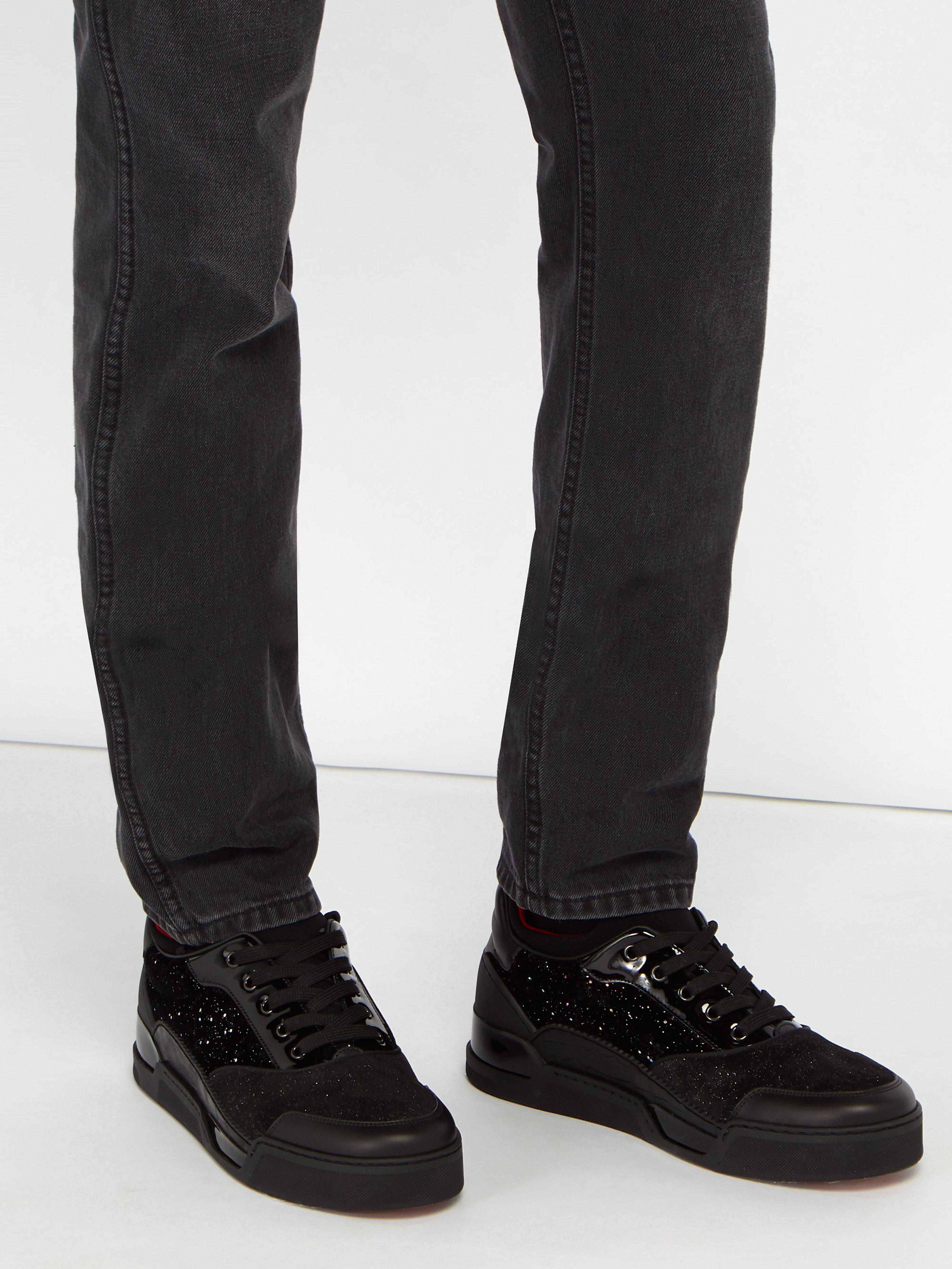 8cb2b08f539 Christian Louboutin Aurelien Glittered Velvet And Suede Trainers in Black  for Men - Lyst