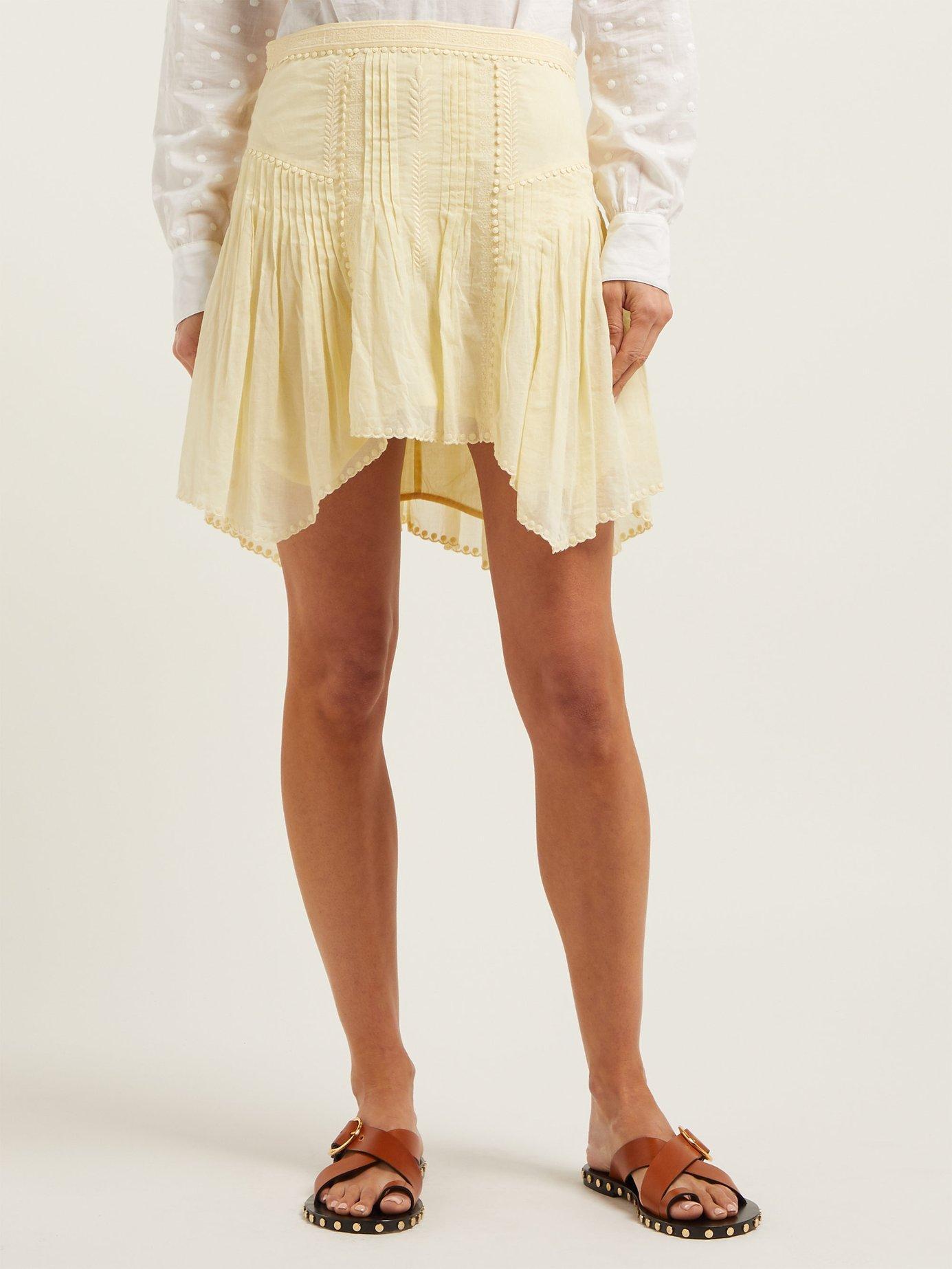 13e5395b6 Étoile Isabel Marant Akala Lace Trimmed Cotton Mini Skirt in Yellow - Lyst