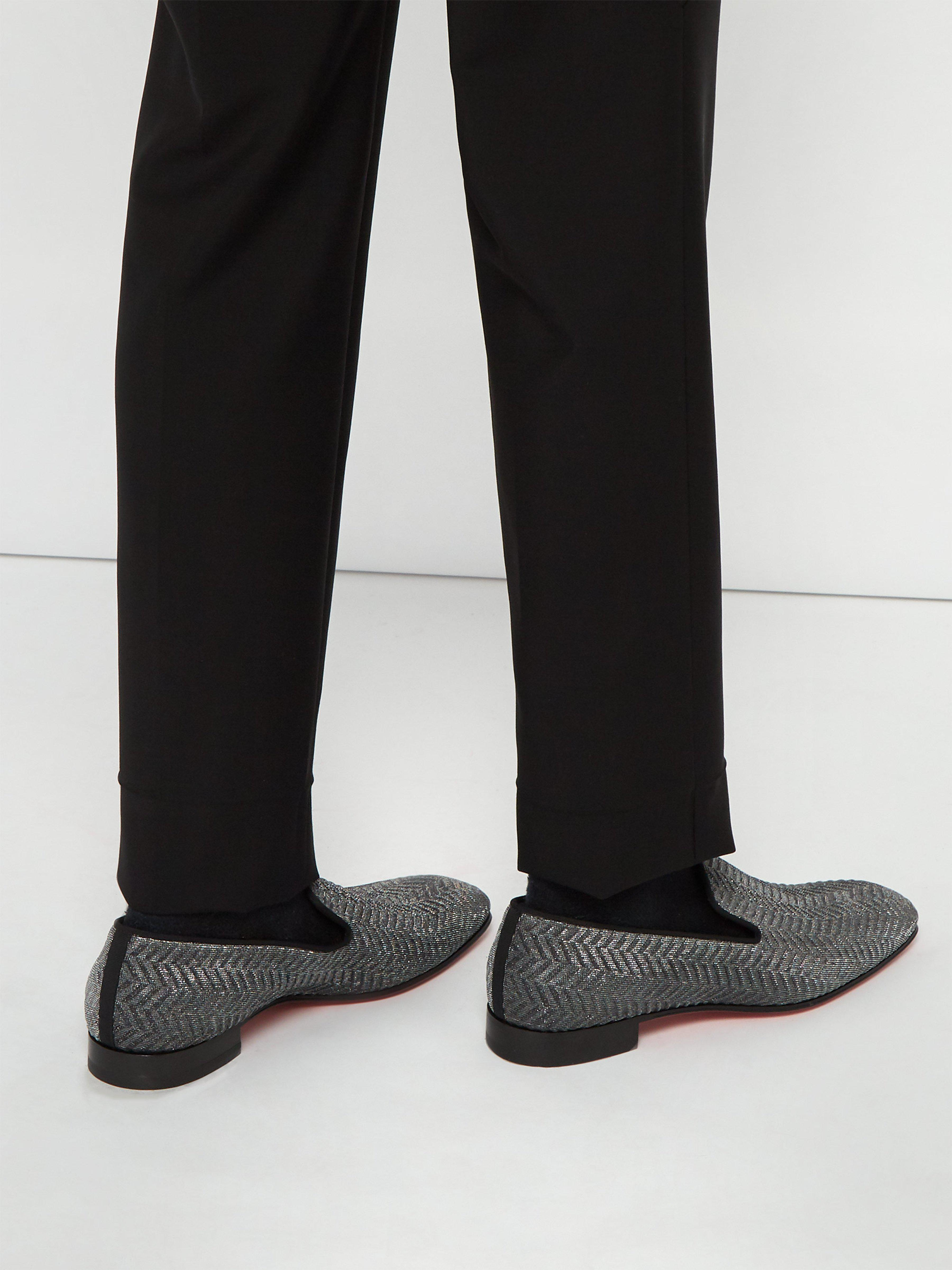 ef7fa732c3fe Christian Louboutin Dandelion Chevron Gaufre Loafers in Metallic for Men -  Lyst