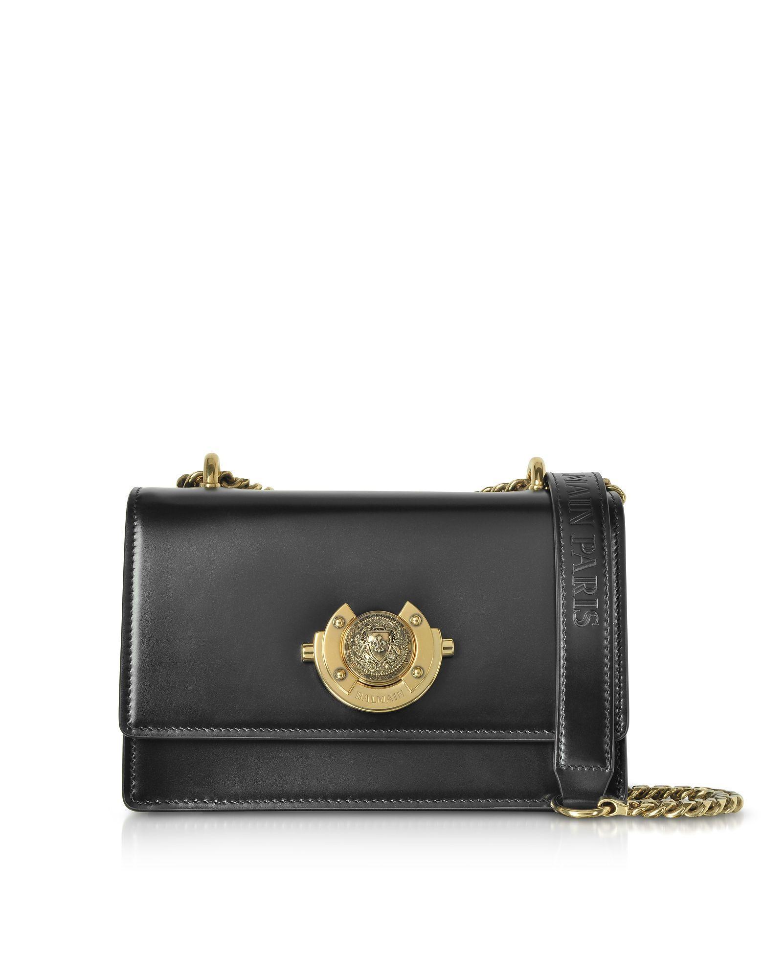 89068b3608e Lyst - Balmain Black Leather Shoulder Bag in Black