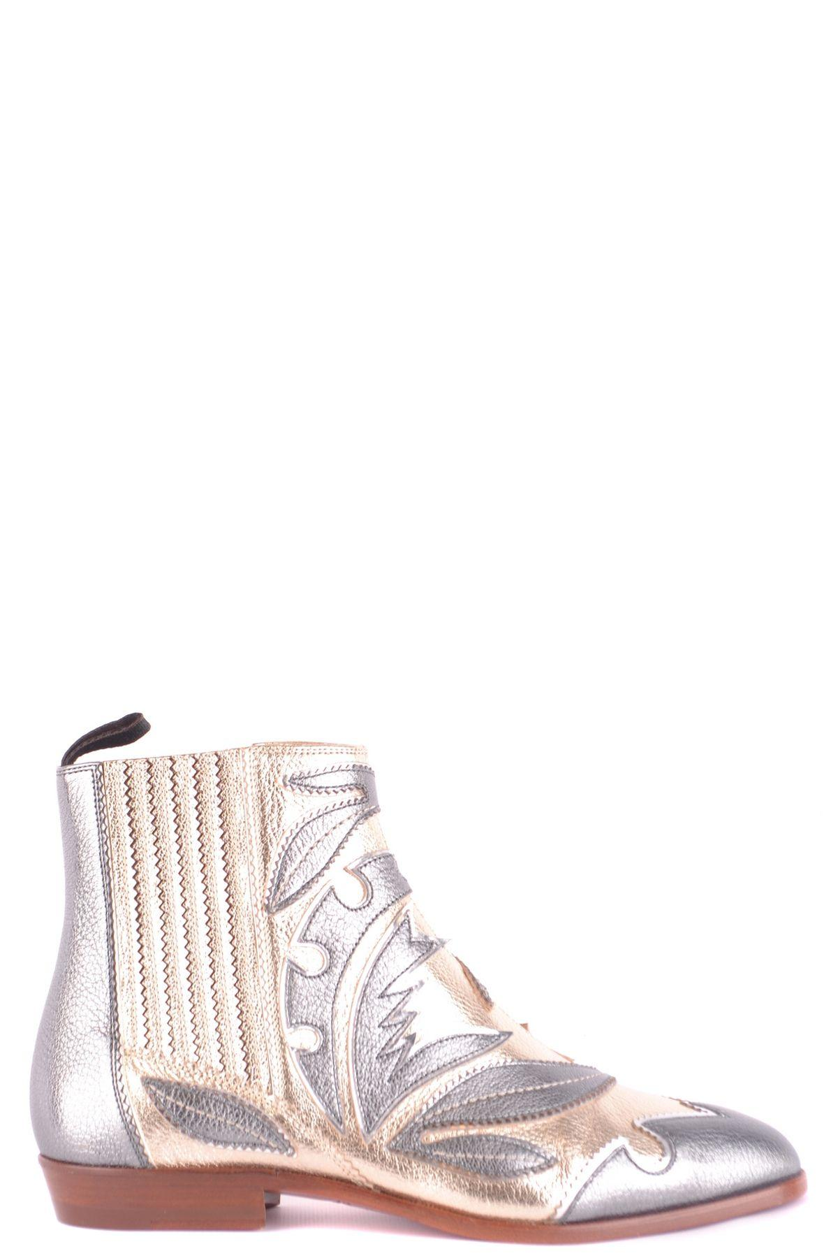 0fab6803c807d Lyst - Santoni Silver Leather Ankle Boots in Metallic