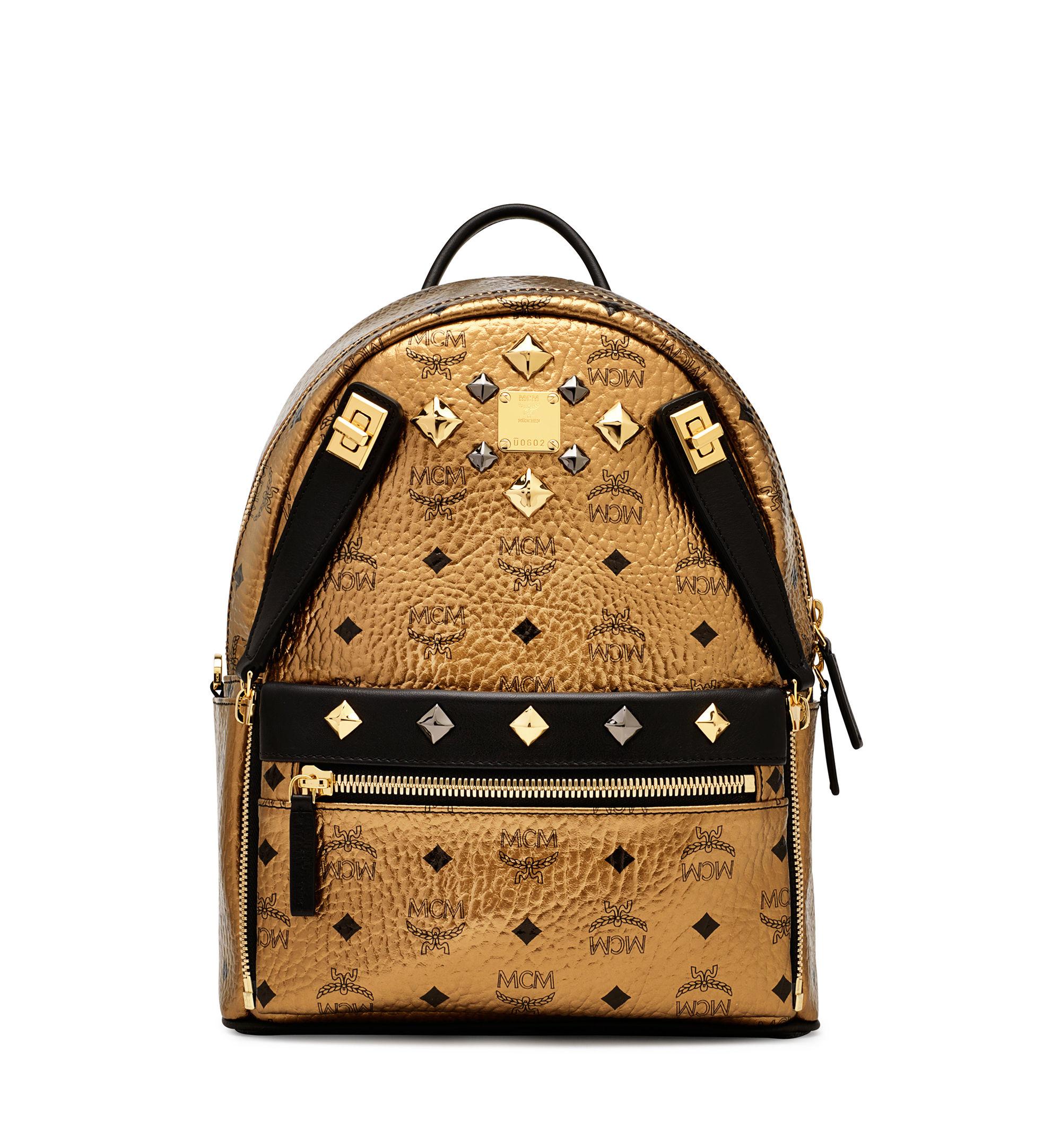 lyst mcm dual stark medium backpack gold in metallic. Black Bedroom Furniture Sets. Home Design Ideas
