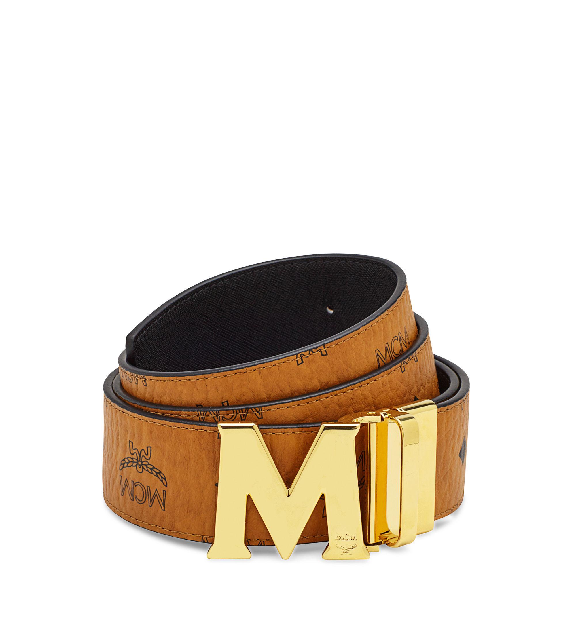 Mcm Visetos Round Belt In Black For Men Lyst