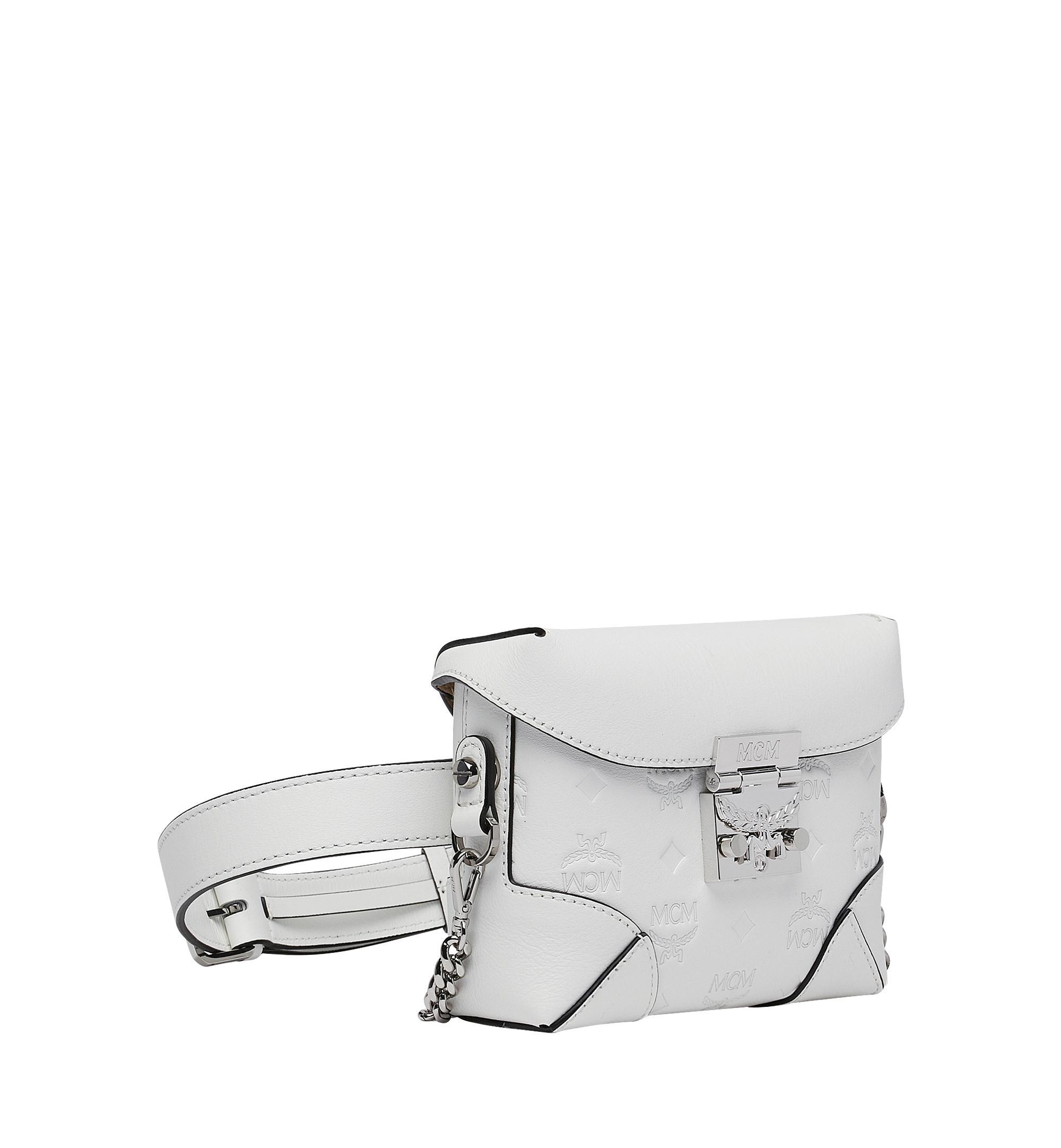 46db6ee29d76 Lyst - Mcm Soft Berlin Monogrammed Leather Belt Bag in White
