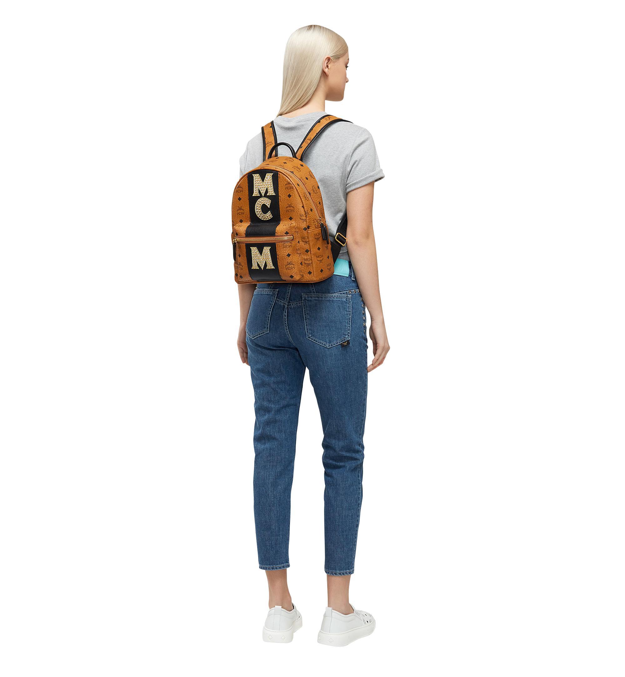 a451028c9ee9 MCM Stark Logo Stripe Backpack In Visetos in Brown - Lyst