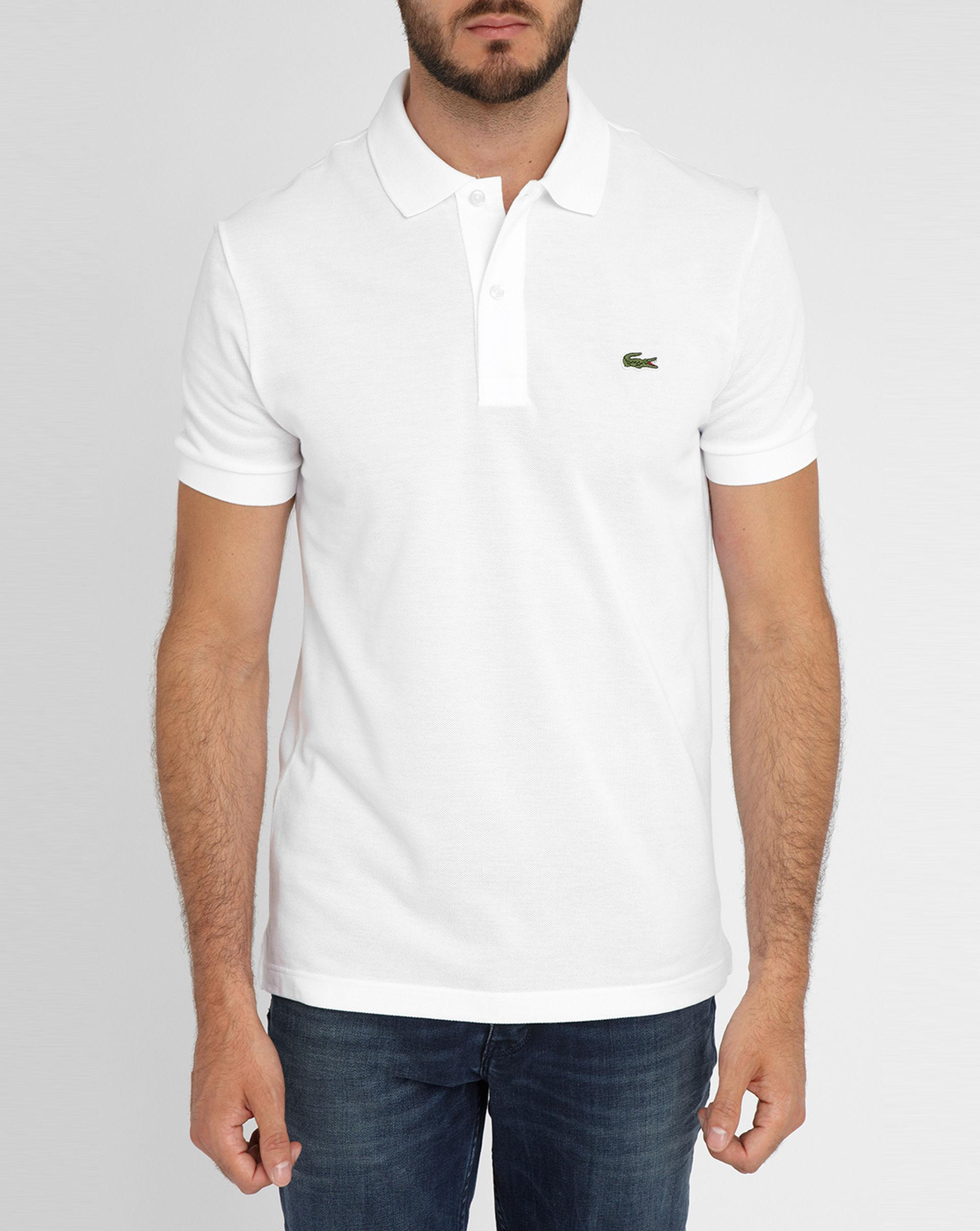 lacoste white logo short sleeve polo shirt in white for. Black Bedroom Furniture Sets. Home Design Ideas