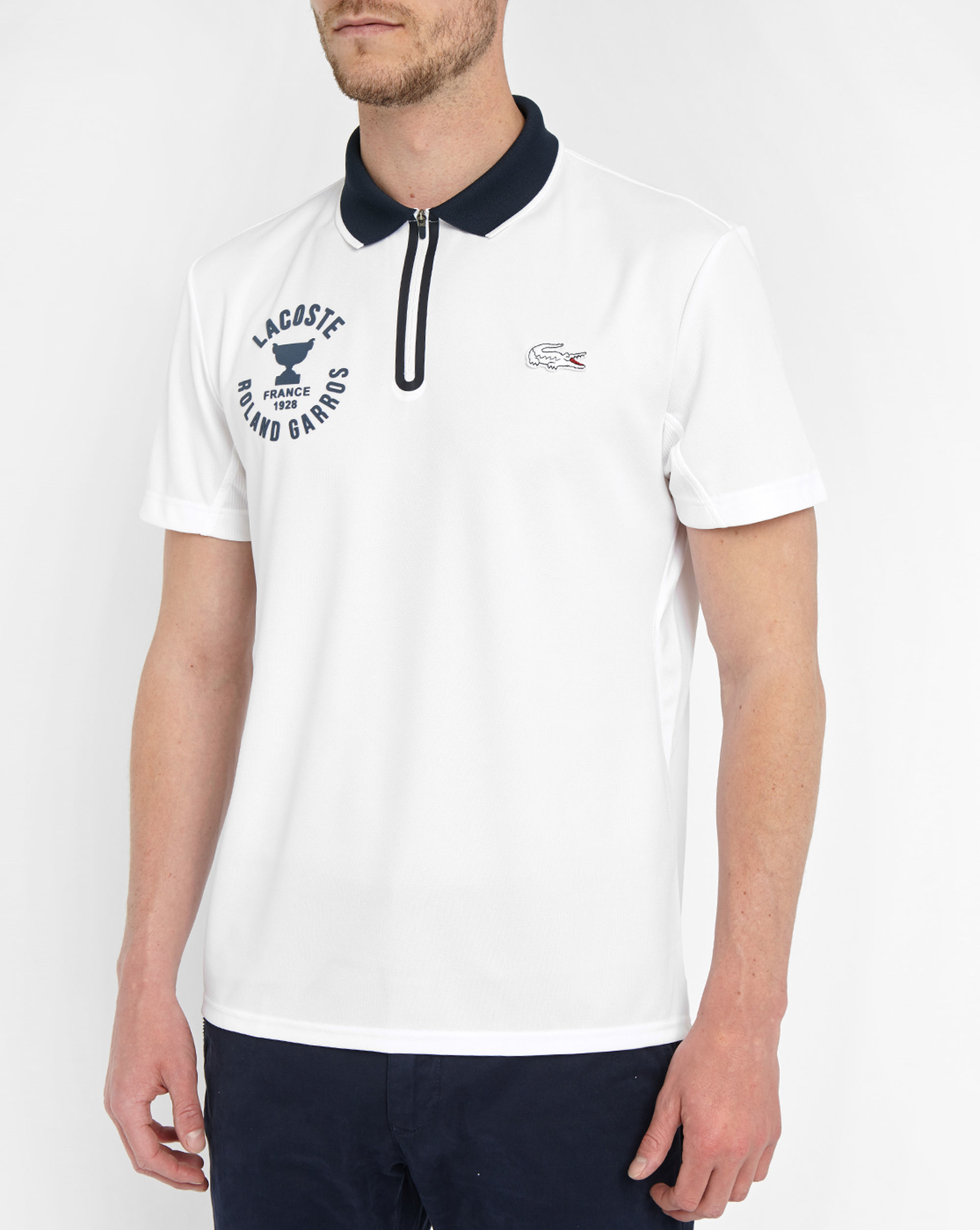 lacoste white short sleeve polo shirt with navy collar and. Black Bedroom Furniture Sets. Home Design Ideas