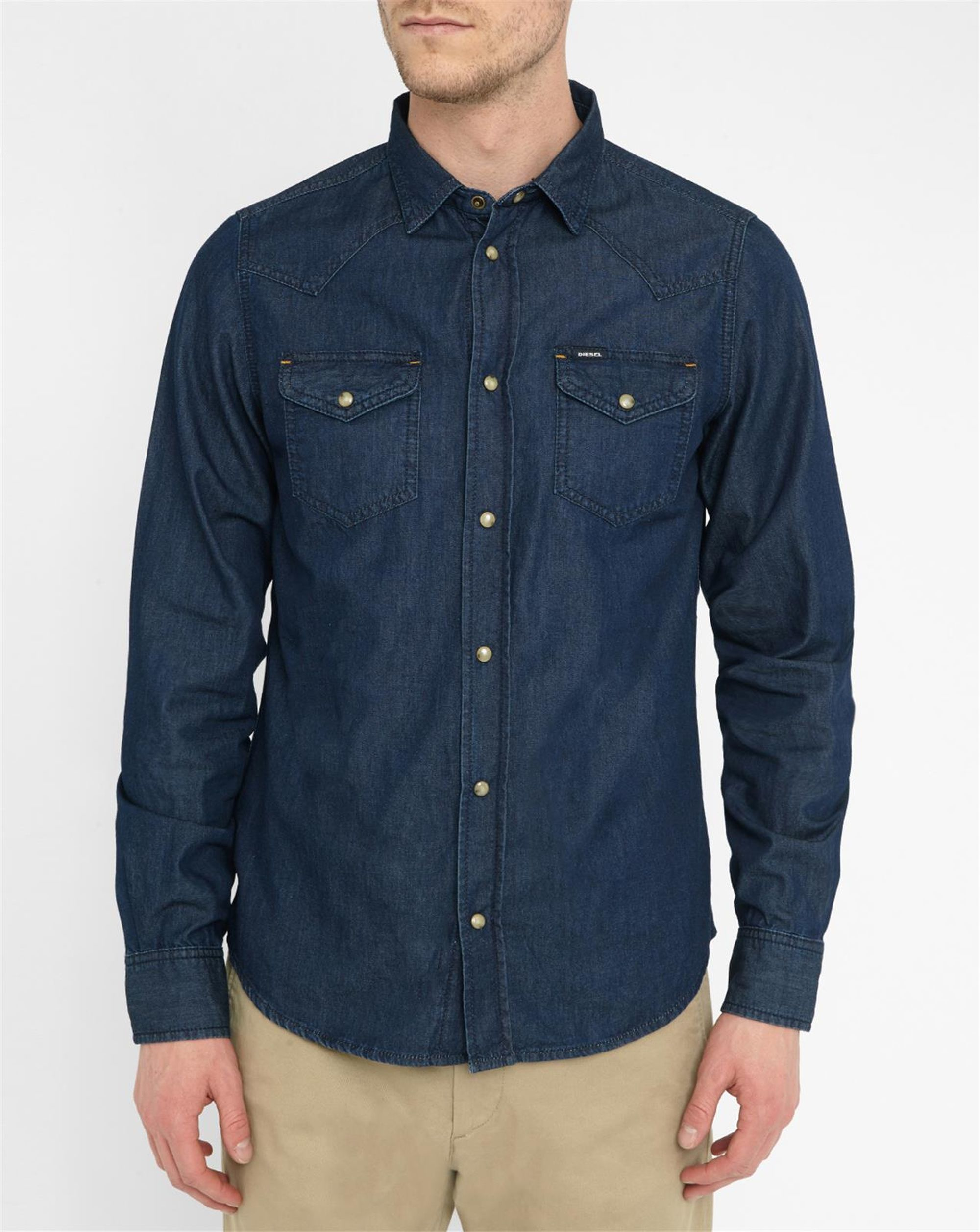 Diesel Blue Sonora Denim Press Stud Pockets Shirt In Blue