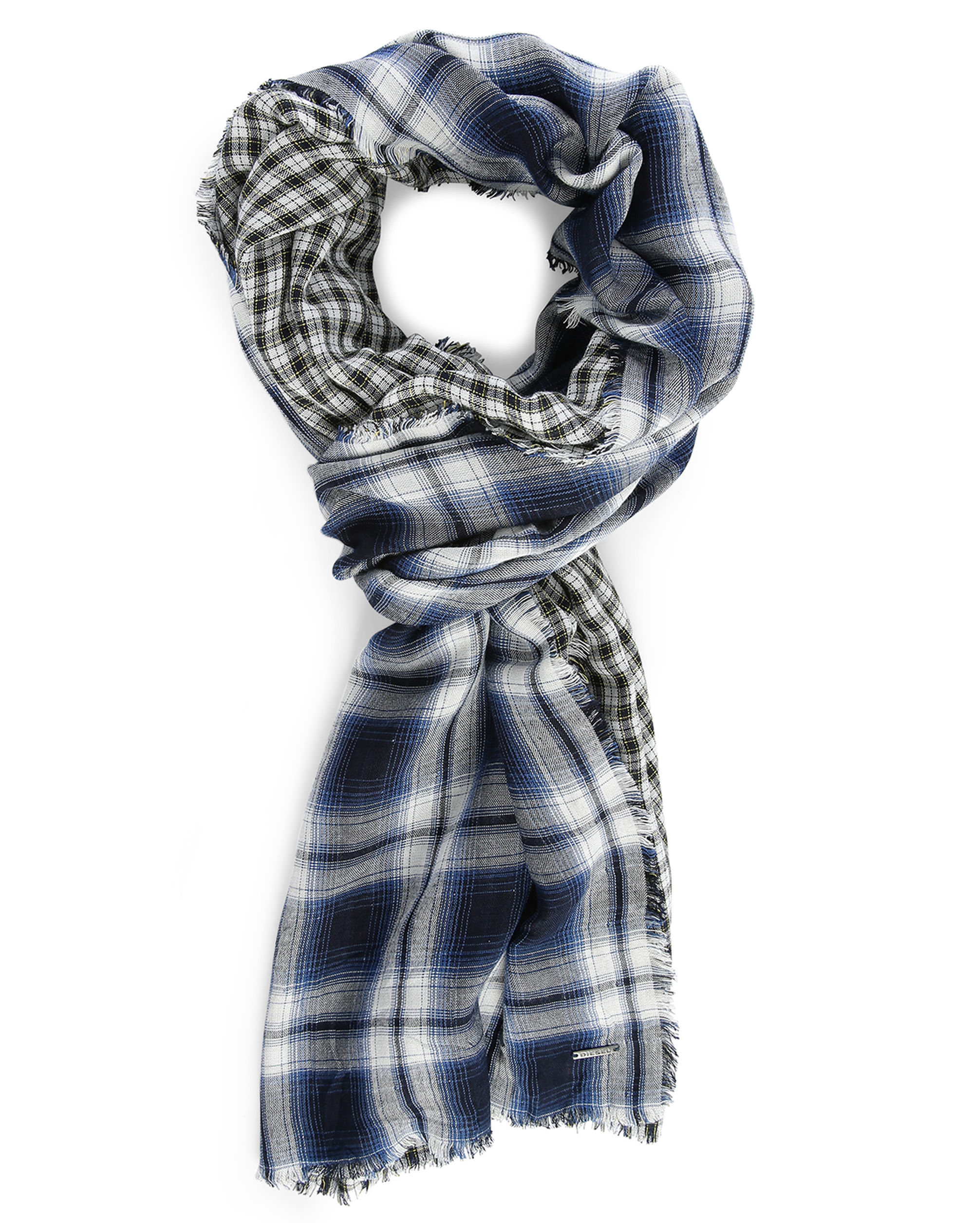 diesel blue check biface check scarf in blue for lyst