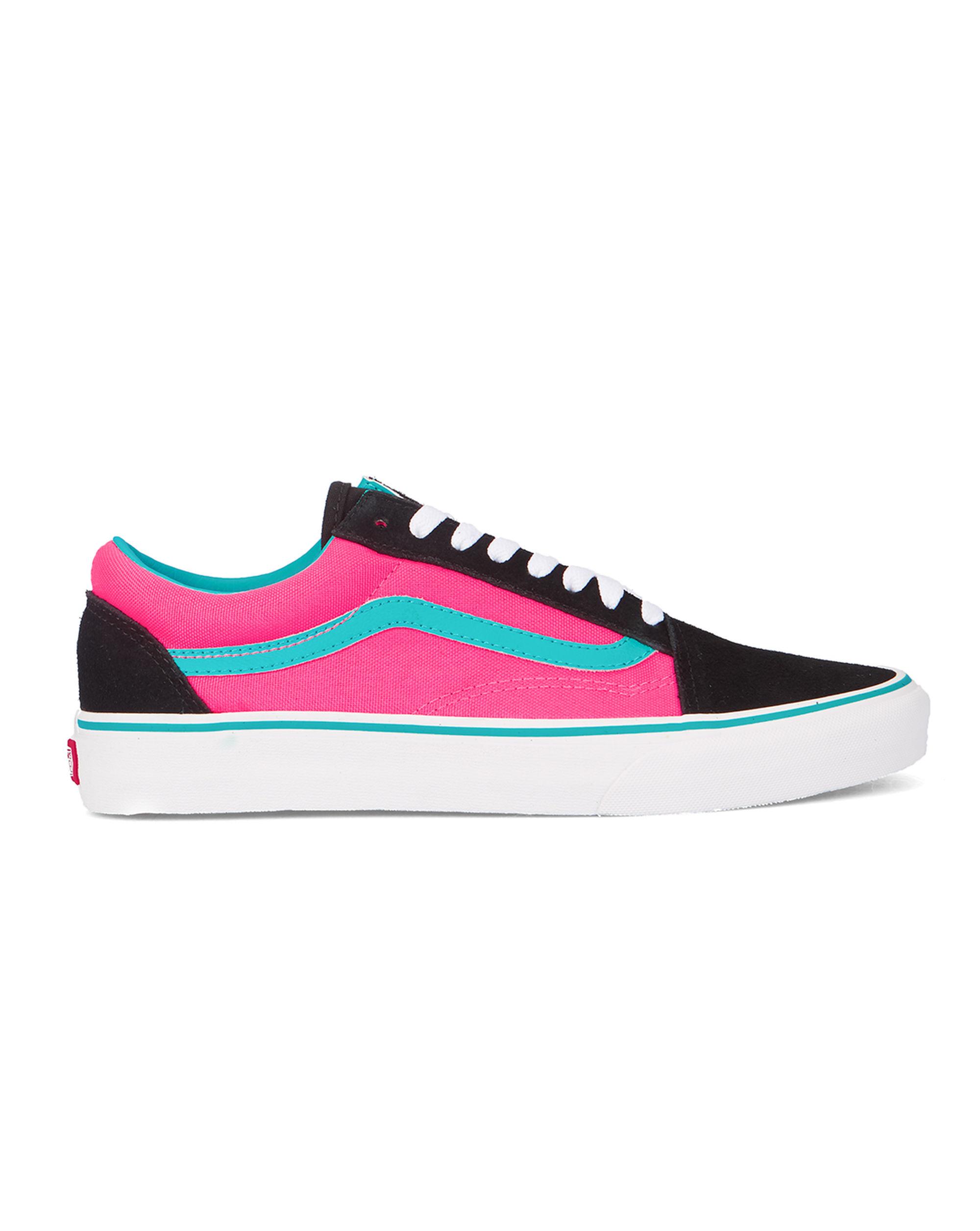 vans black fluoro pink old skool canvas sneakers in black. Black Bedroom Furniture Sets. Home Design Ideas