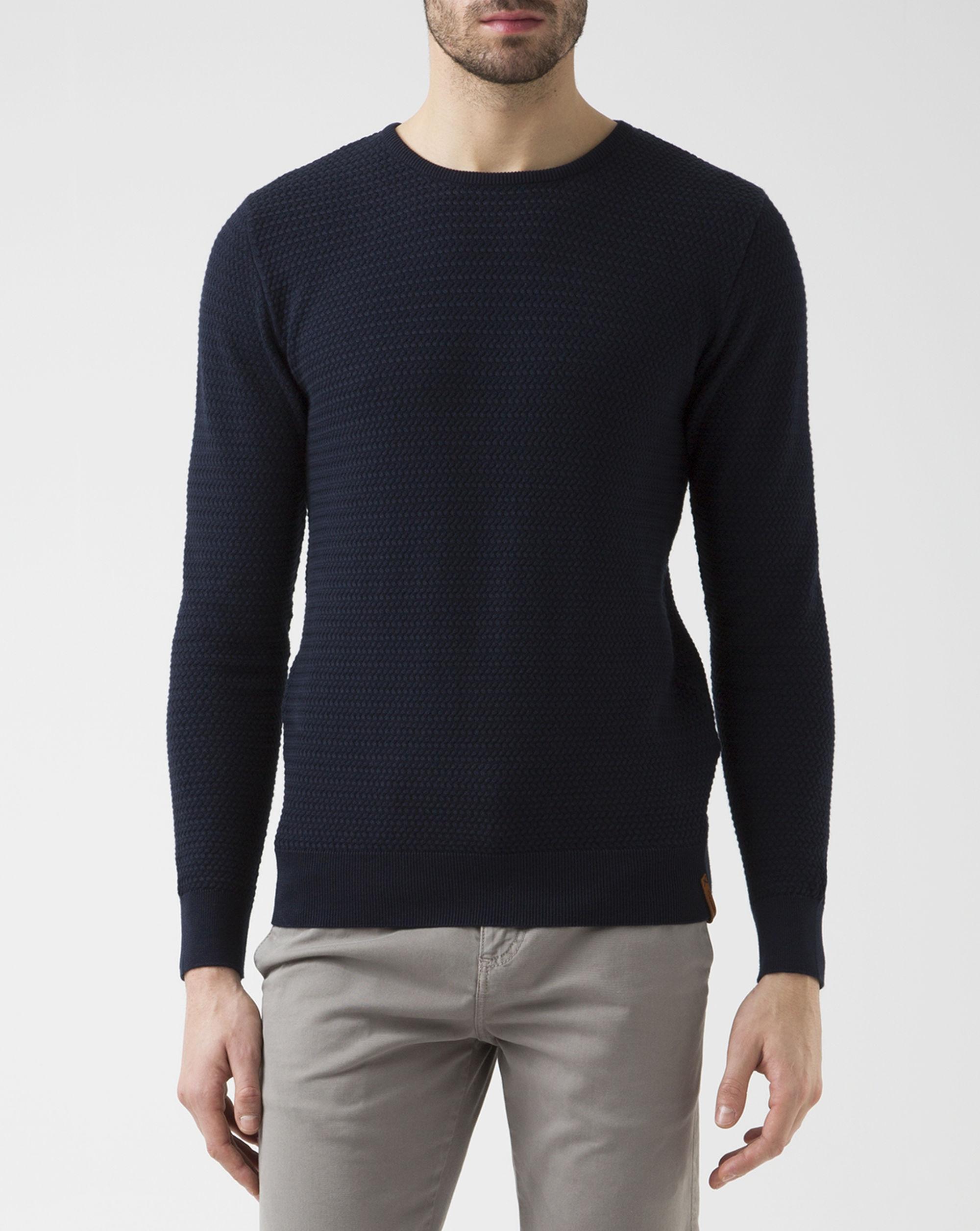 knowledge cotton apparel navy blue crew neck zig zag sweater in blue for men lyst. Black Bedroom Furniture Sets. Home Design Ideas