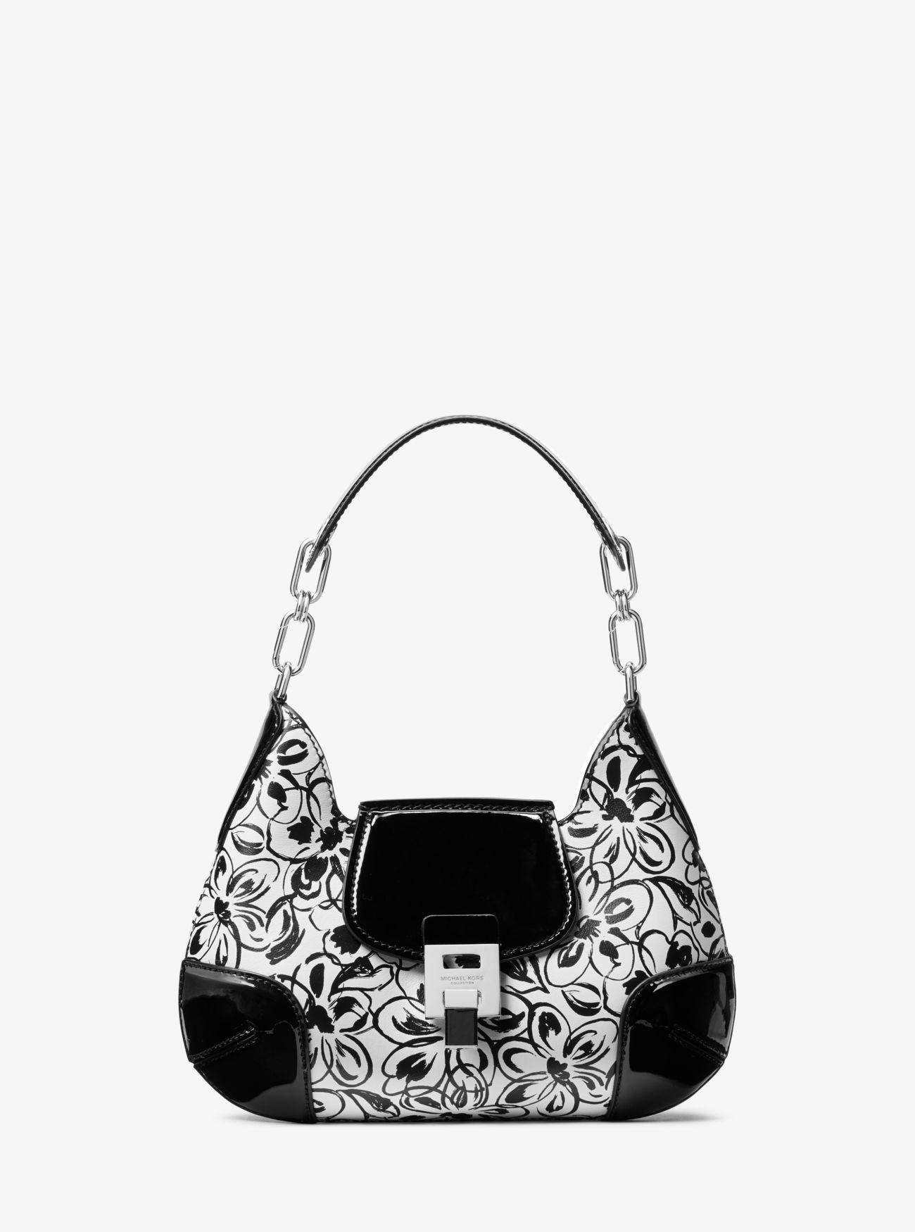 f47b761c0eb80f Michael Kors. Women's Black Bancroft Small Painterly Floral Calf Leather  Shoulder Bag