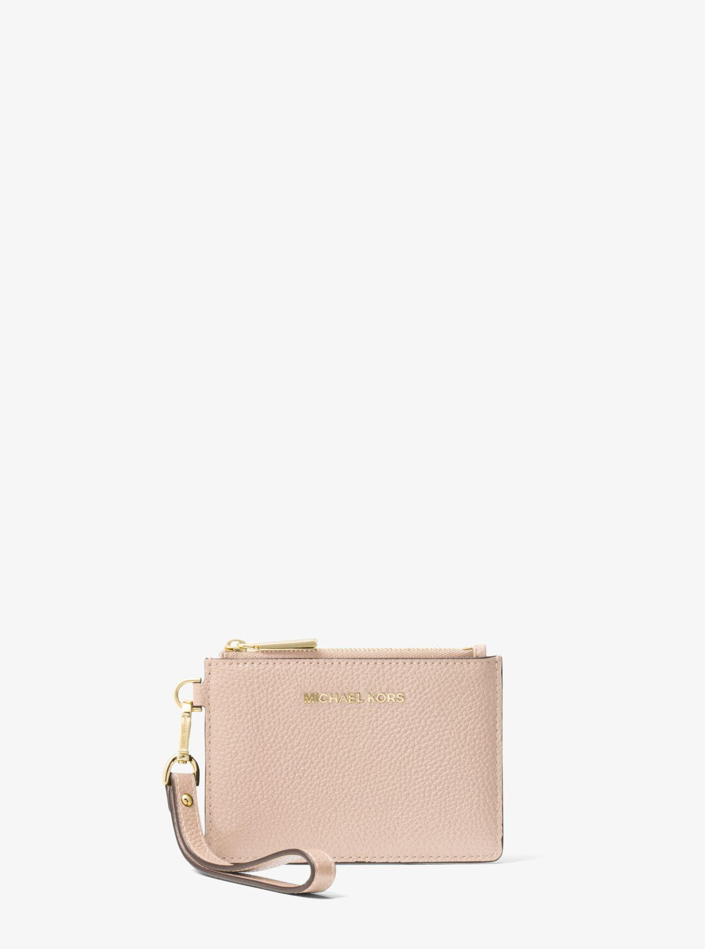 lyst michael kors mercer small leather coin purse in pink. Black Bedroom Furniture Sets. Home Design Ideas
