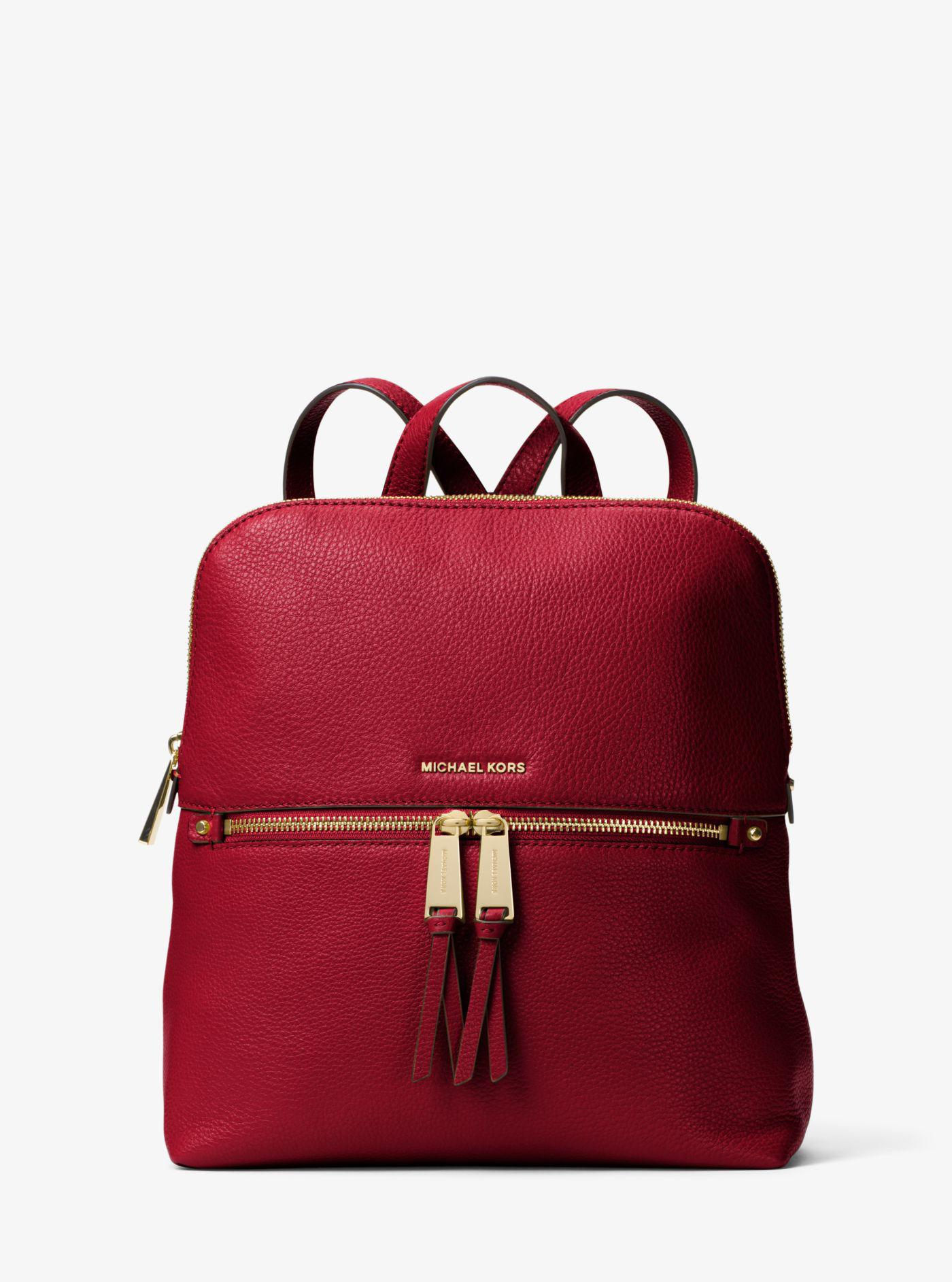 Lyst - Michael Kors Rhea Medium Slim Leather Backpack in Red f825d2cc79