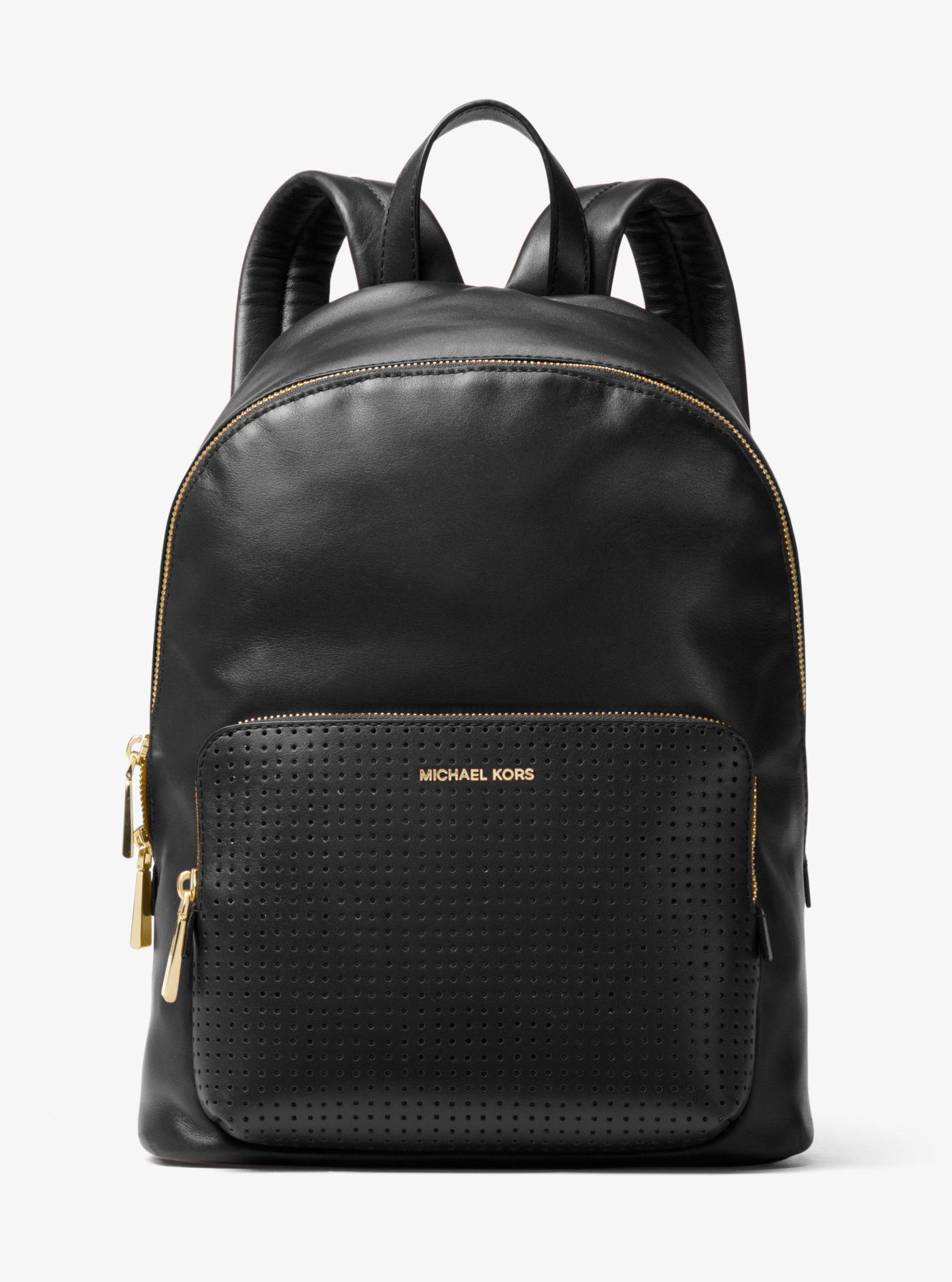 ed93d38c452f2 Lyst - Michael Kors Wythe Large Perforated Leather Backpack in Black