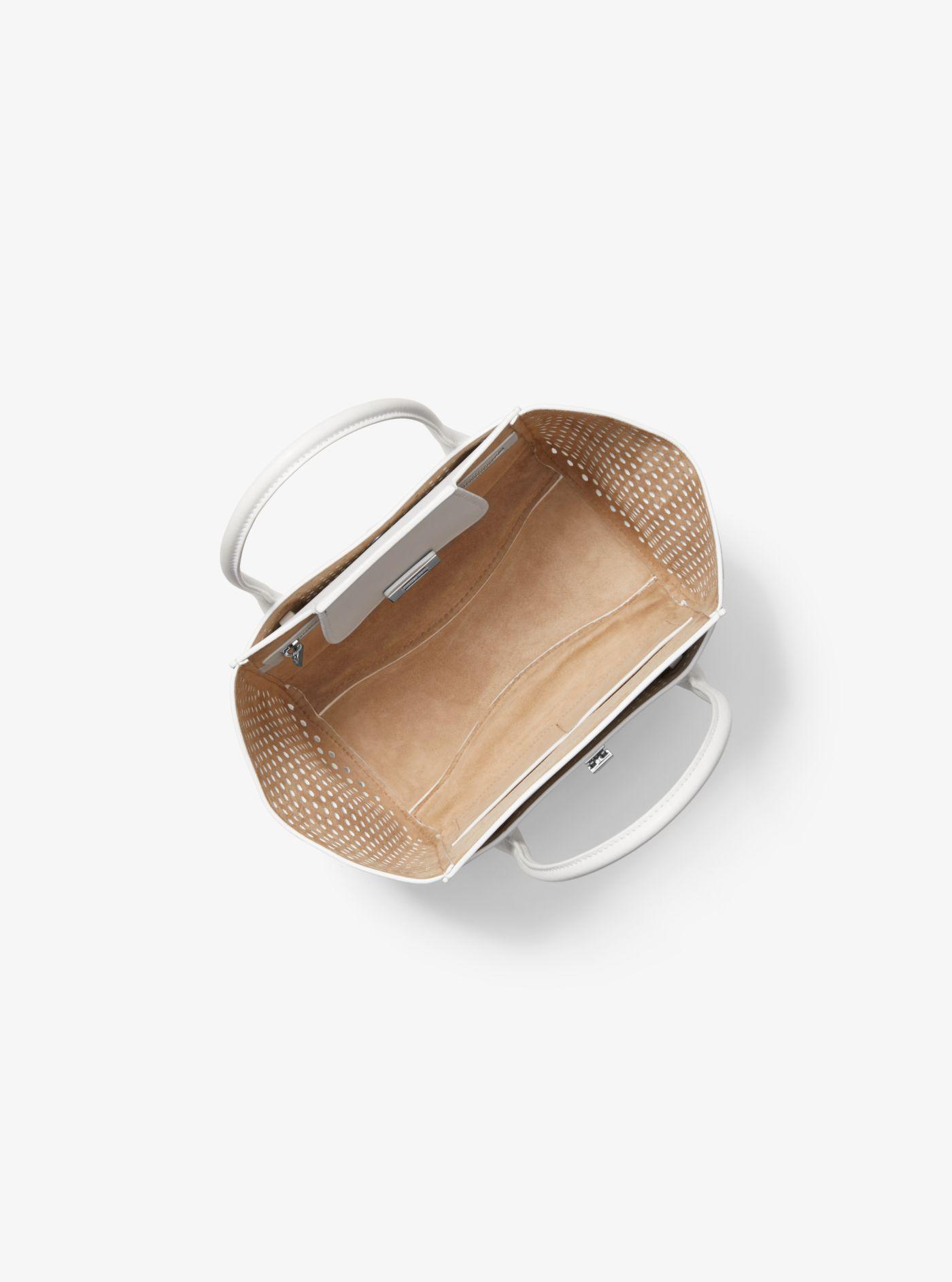 2b43145ea481 Michael Kors - White Bancroft Medium Perforated Calf Leather Satchel -  Lyst. View fullscreen