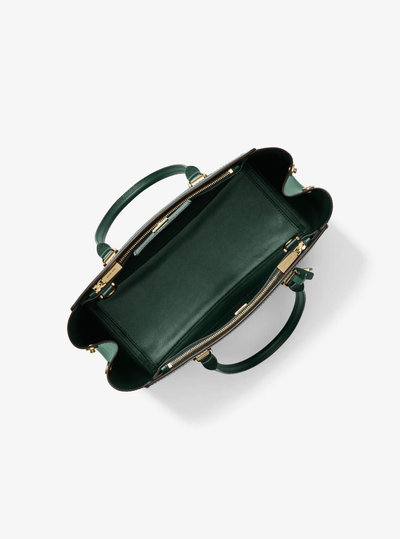 60577fc0cf01 ... good michael kors green benning large two tone leather satchel lyst.  view fullscreen ba646 a8e9a