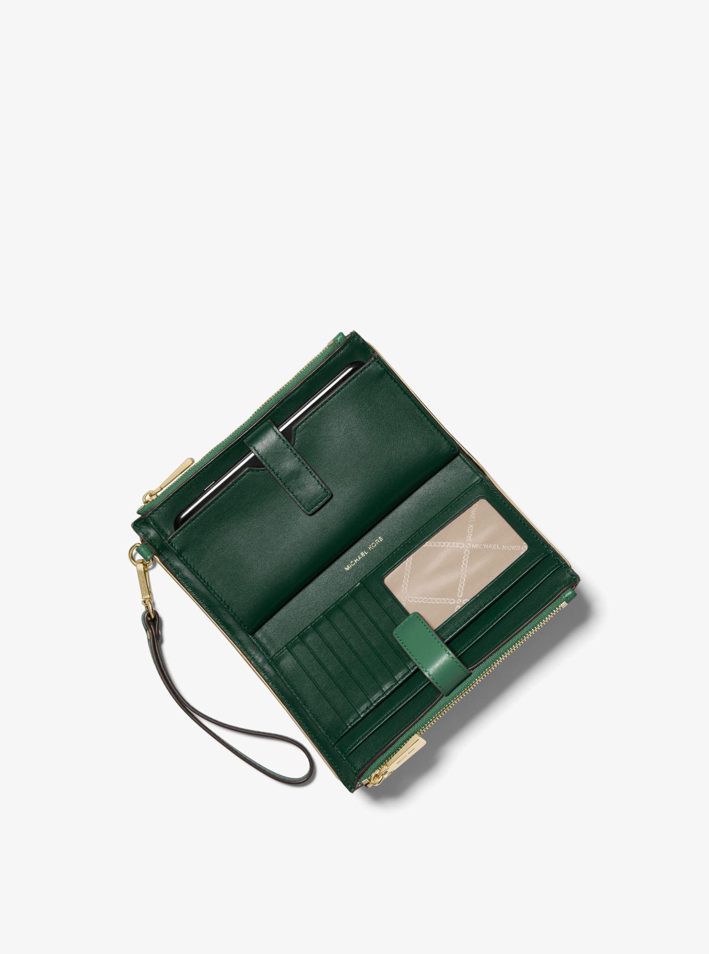 Michael Kors - Green Adele Two-tone Leather Smartphone Wallet - Lyst. View  fullscreen 87f8232c44275