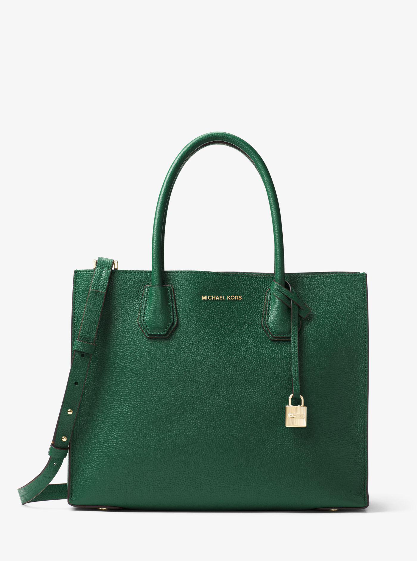 8591c799a582cf ... sweden lyst michael kors mercer medium leather tote bag in green 12f86  e22f9