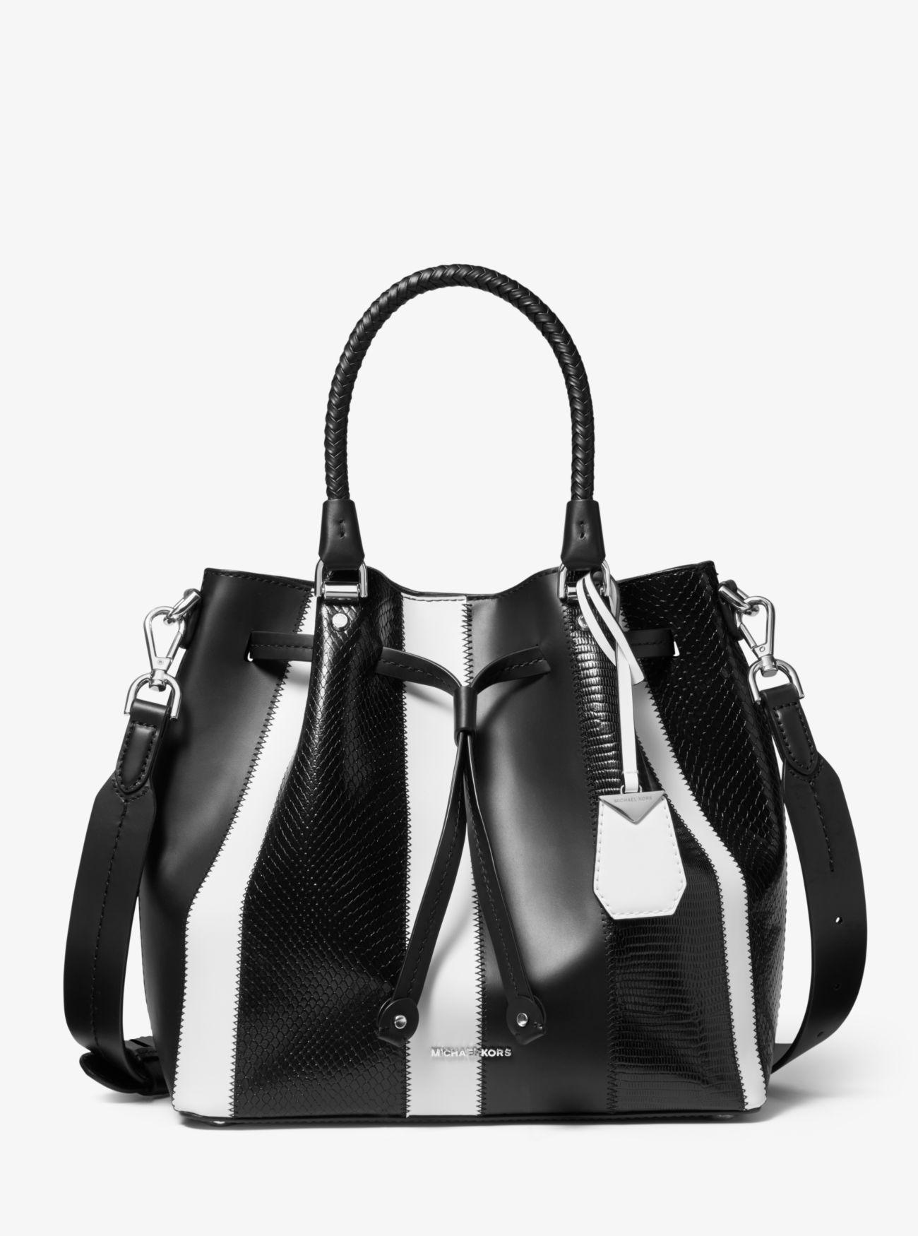 5346c3399128 MICHAEL Michael Kors. Women's Black Blakely Medium Striped Leather Bucket  Bag