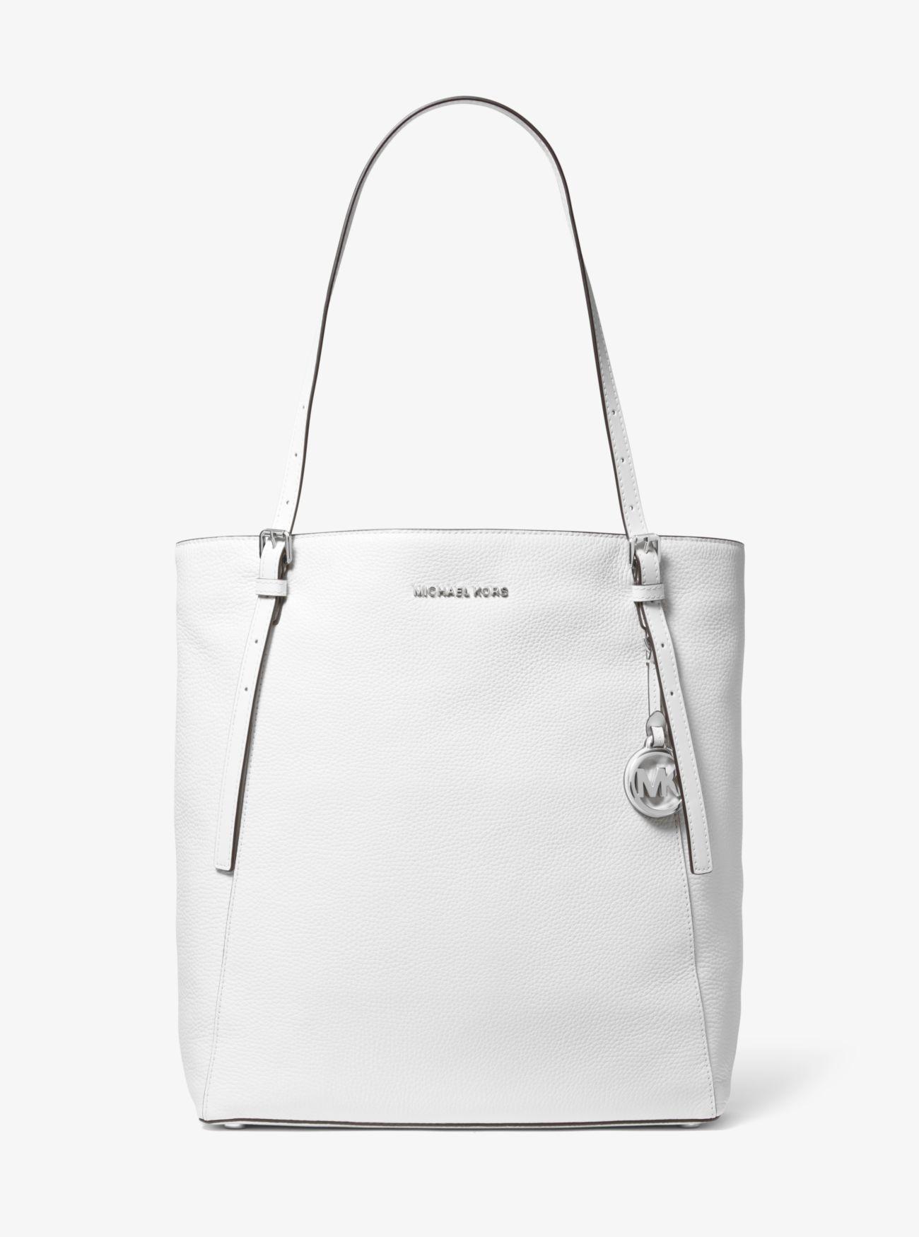 ee1cb9ffe521 MICHAEL Michael Kors - White Megan Large Pebbled Leather Tote Bag - Lyst.  View fullscreen