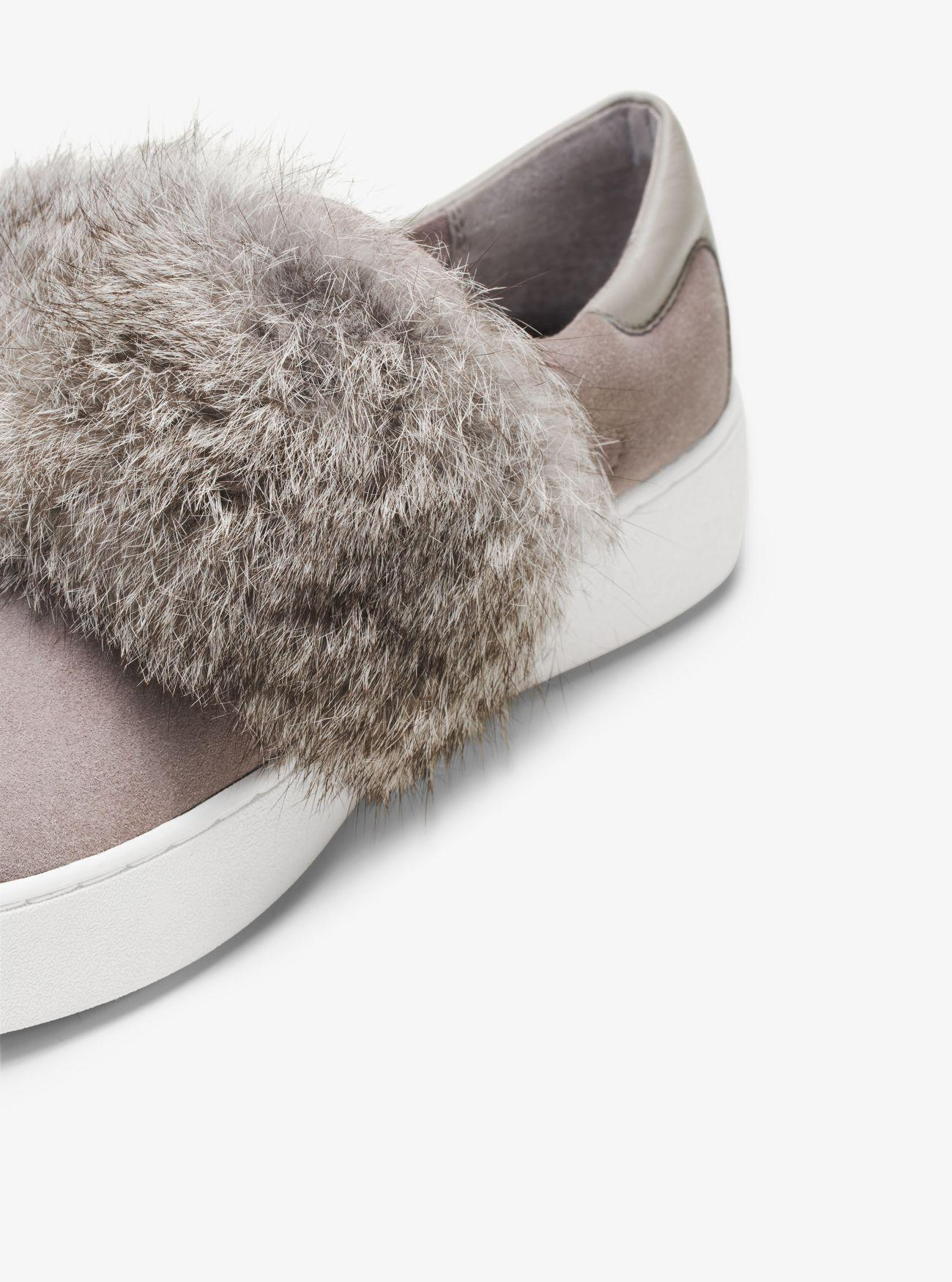 5acb09ff743 Lyst - Michael Kors Maven Fur And Suede Slip-on Sneaker in Gray