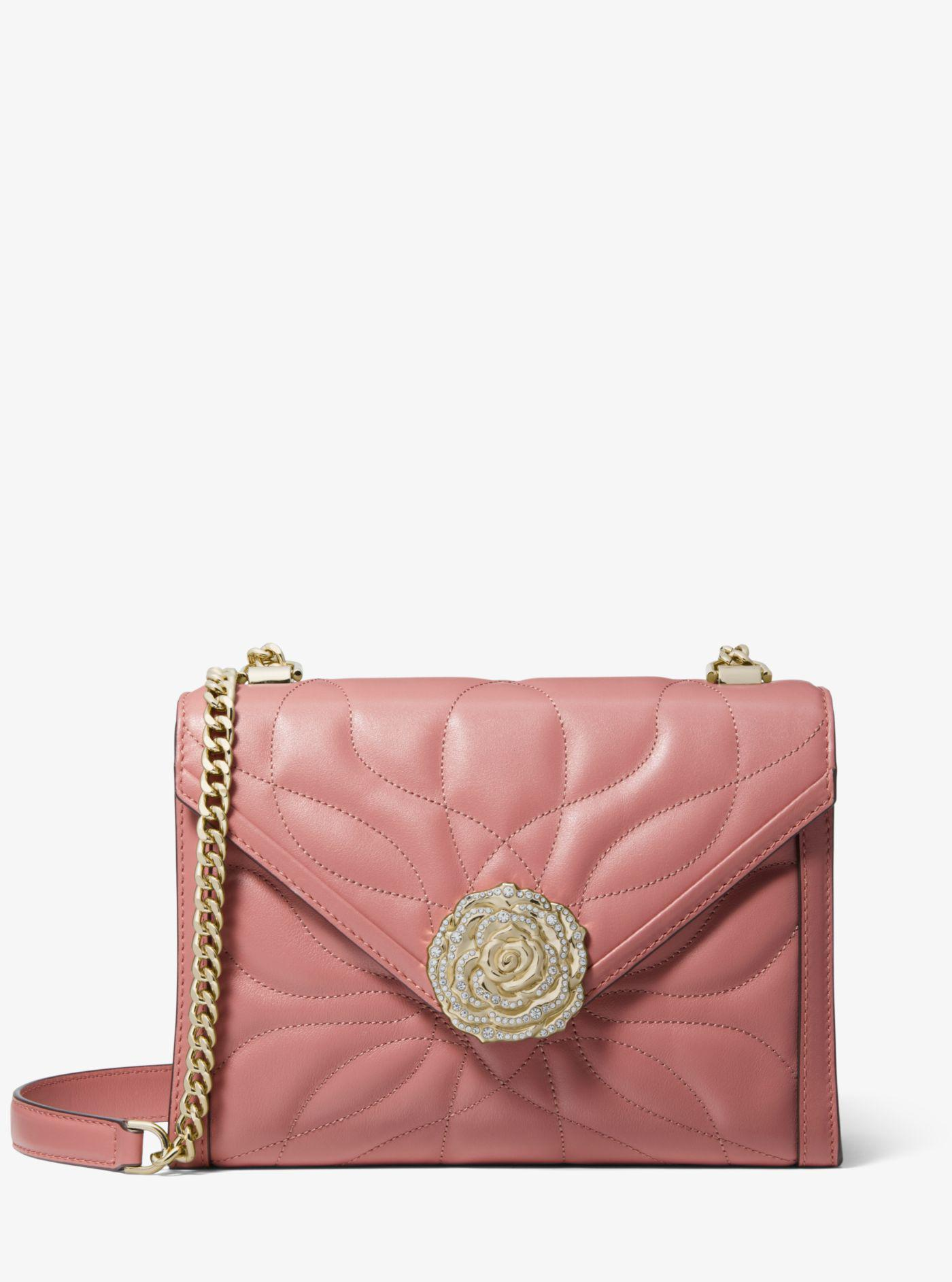 fb79757ec873 Michael Kors. Women s Pink Whitney Large Petal Quilted Leather Convertible Shoulder  Bag