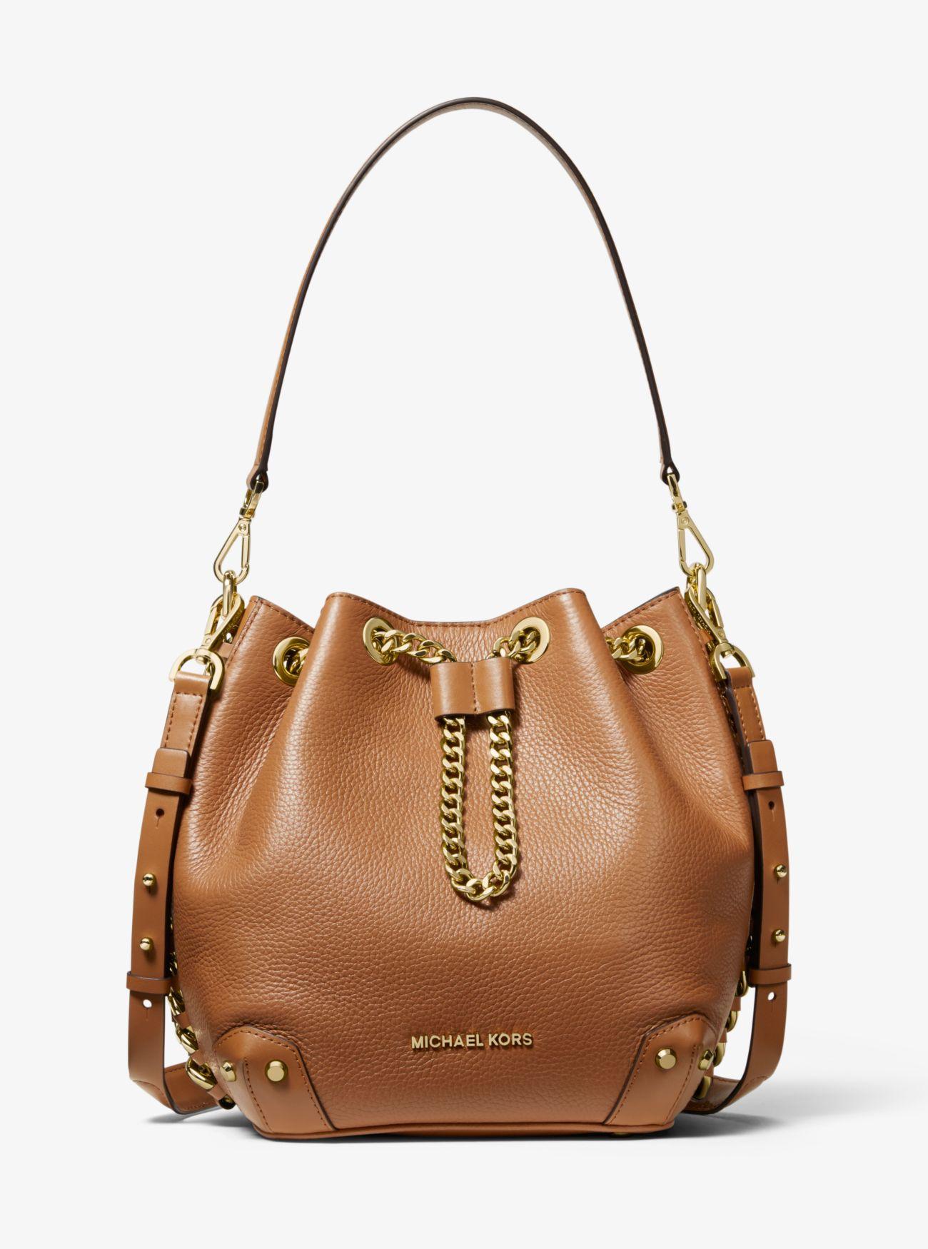202300c77d8a MICHAEL Michael Kors. Women's Brown Alanis Medium Pebbled Leather Bucket Bag